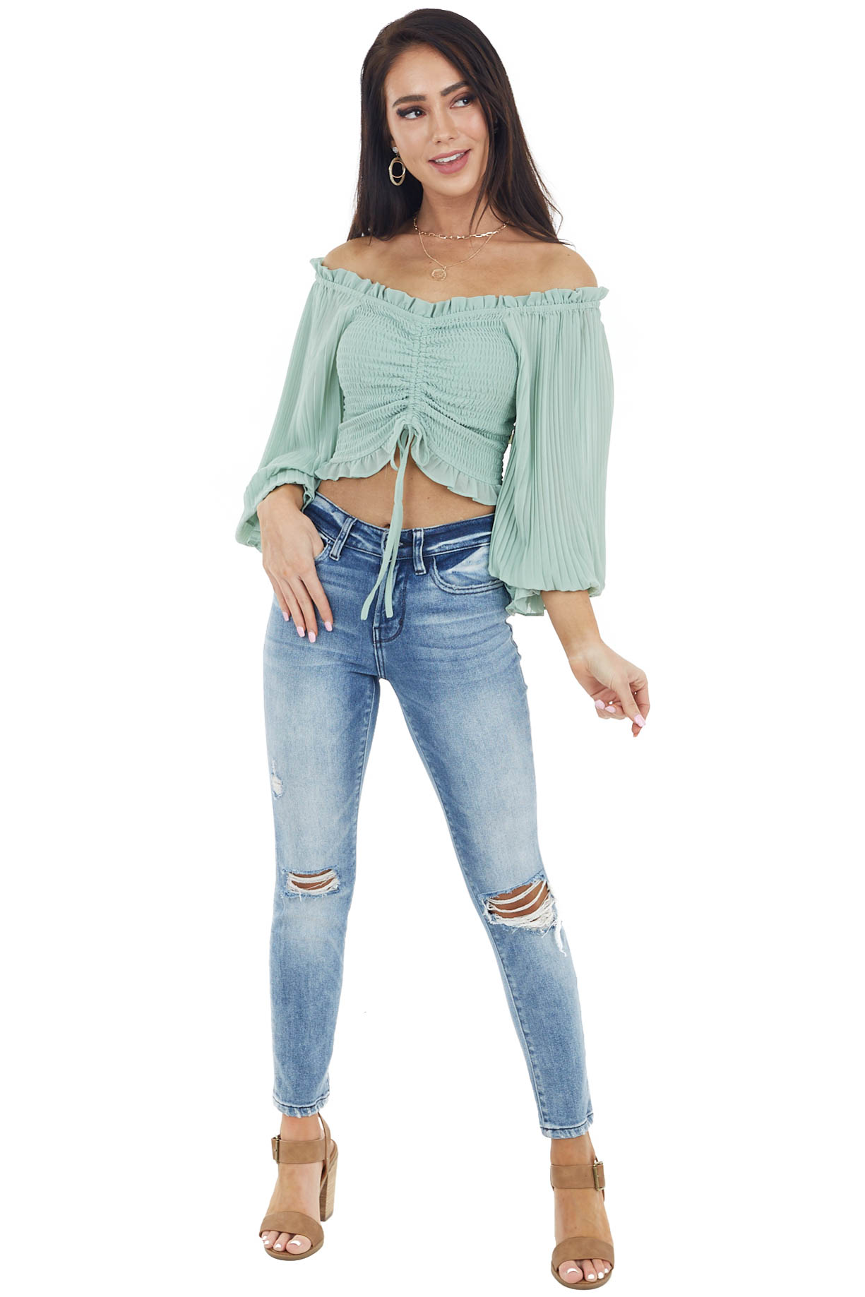 Sage Smocked Crop Top with Long Sheer Bubble Sleeves