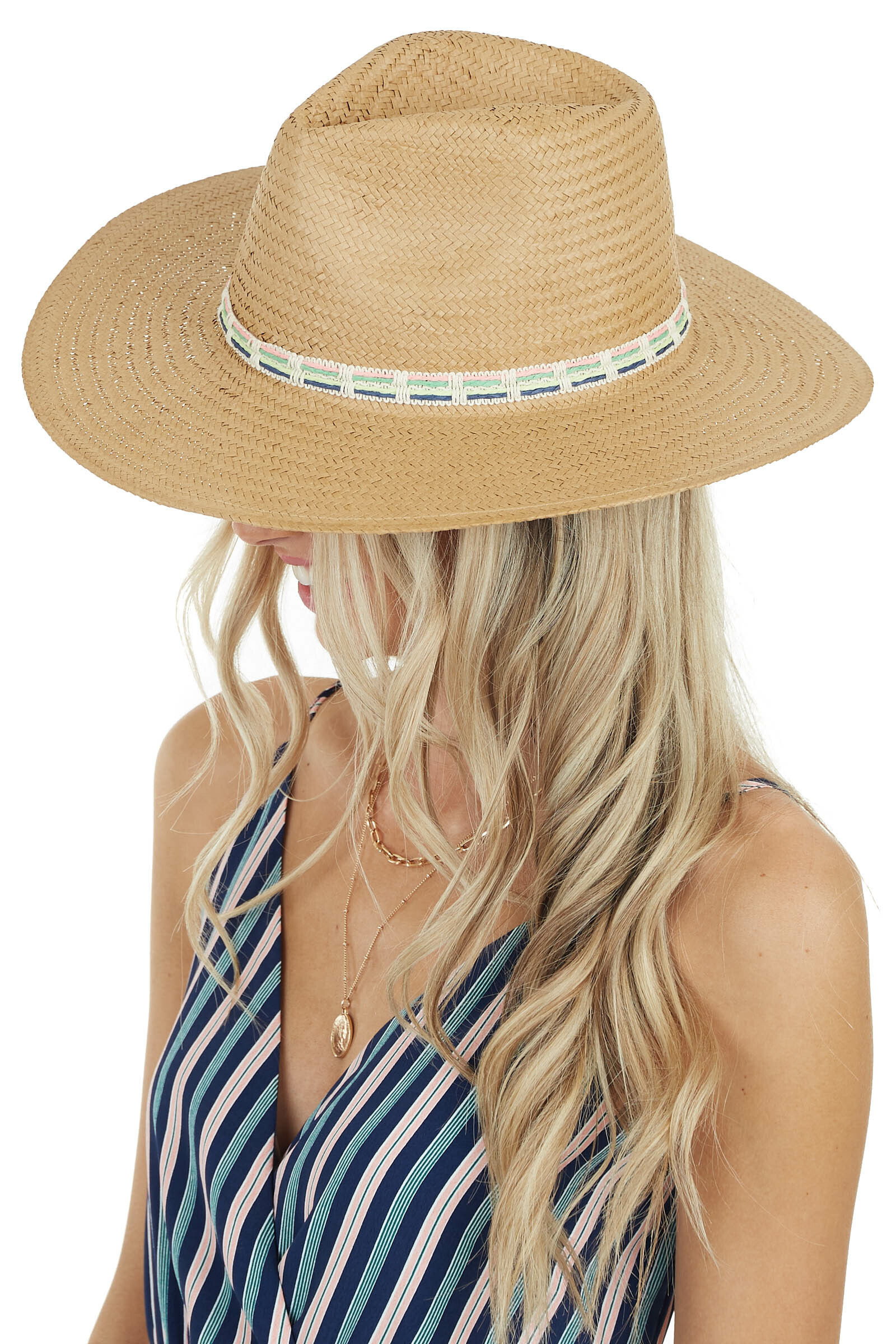Tan Panama Straw Hat with Multicolor Thread Details