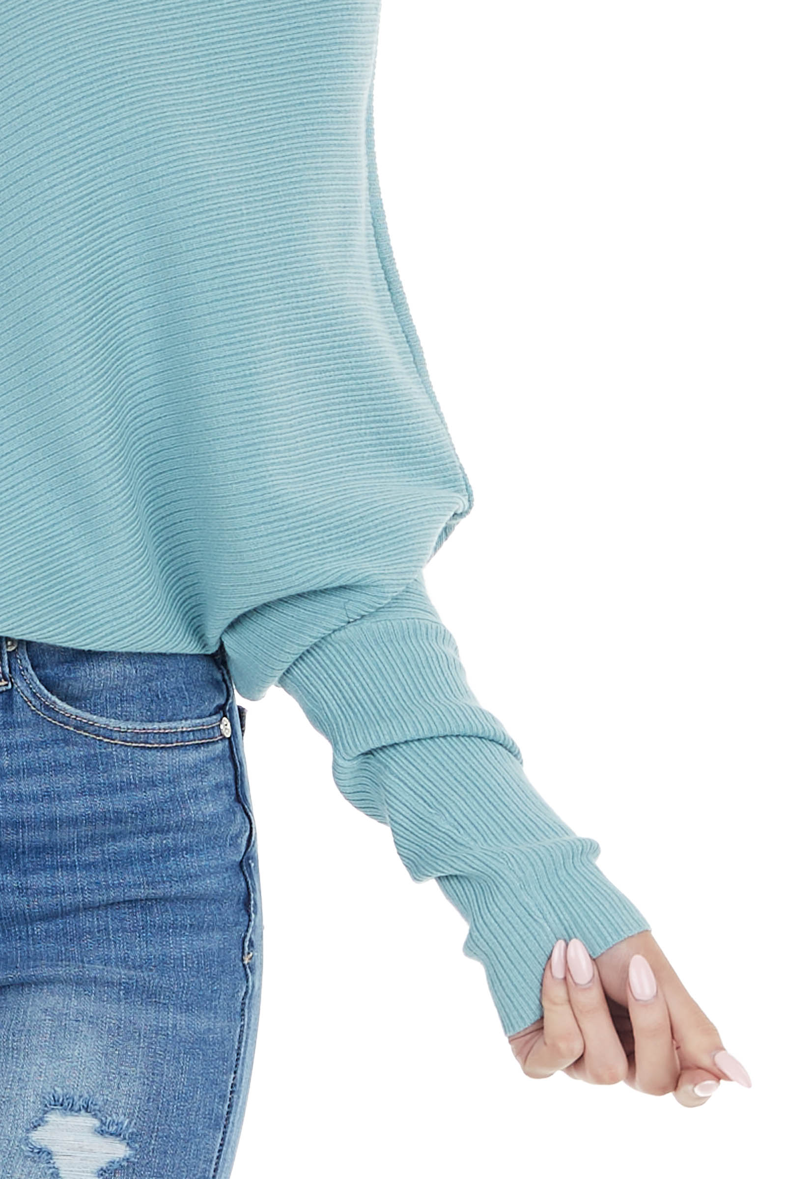 Teal Ribbed Knit Asymmetrical Off the Shoulder Top