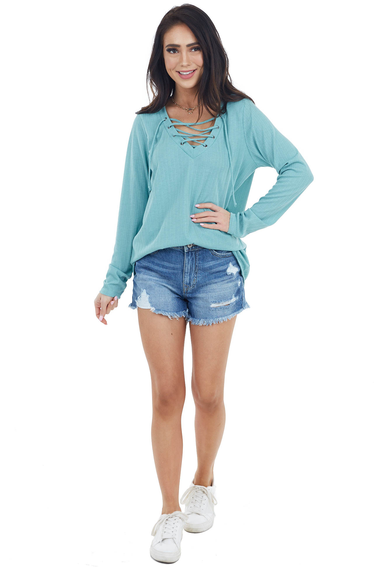 Dusty Aqua Long Sleeve Knit Top with Lace Up Front Detail