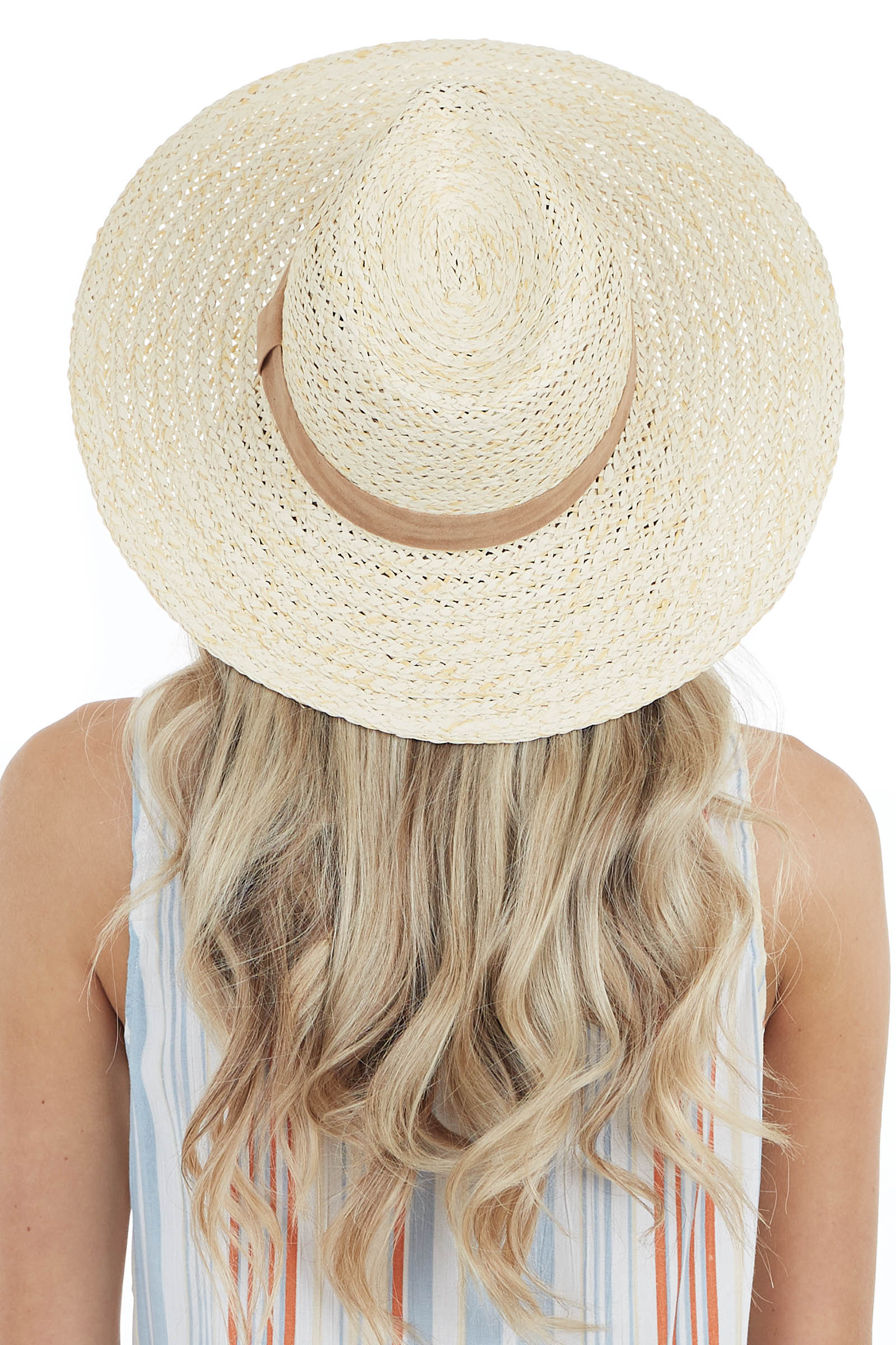 Ivory Panama Straw Hat with Camel Suede Trim Detail