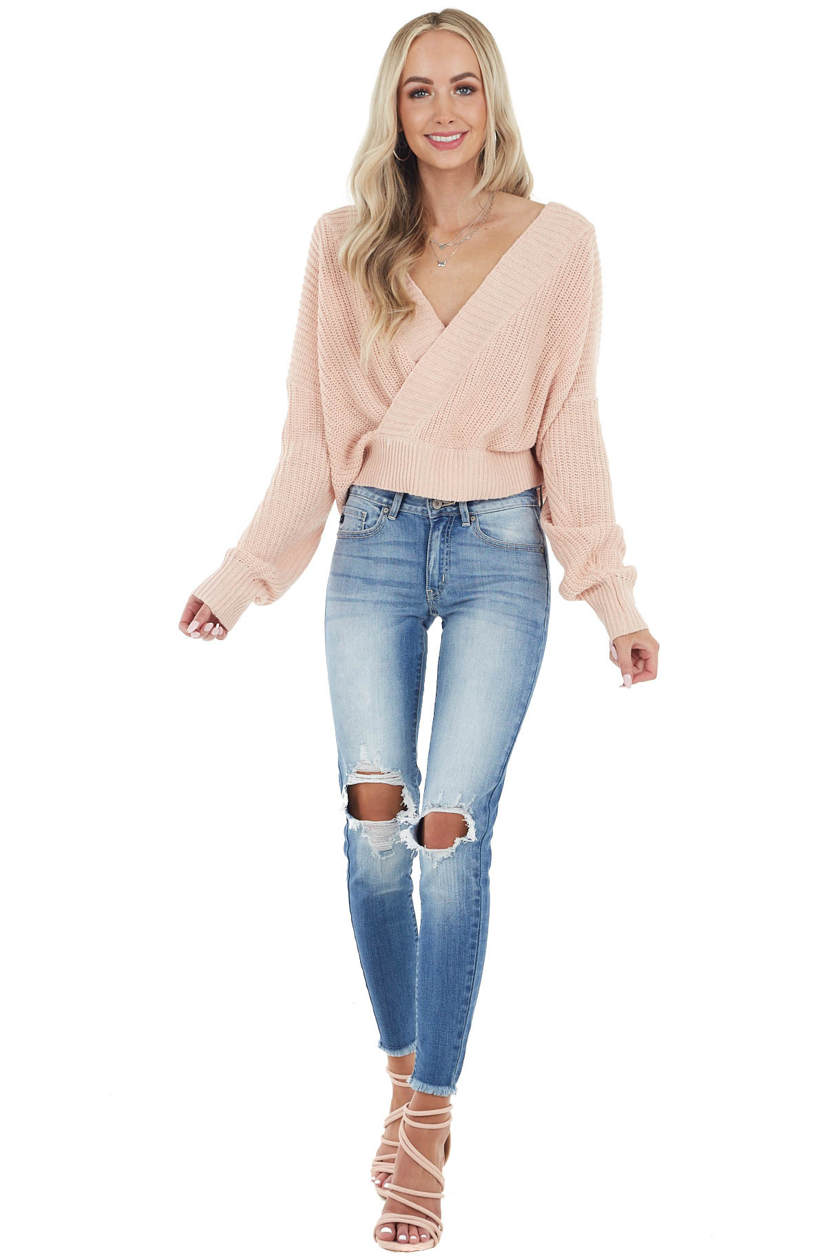 Dusty Blush Long Sleeve Ribbed Sweater with Deep Surplice