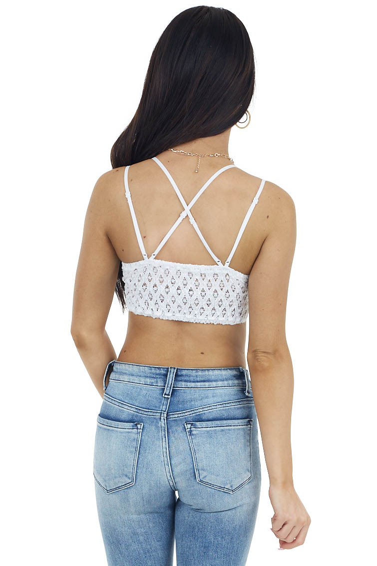 White Floral Lace Bralette with Criss Cross Straps