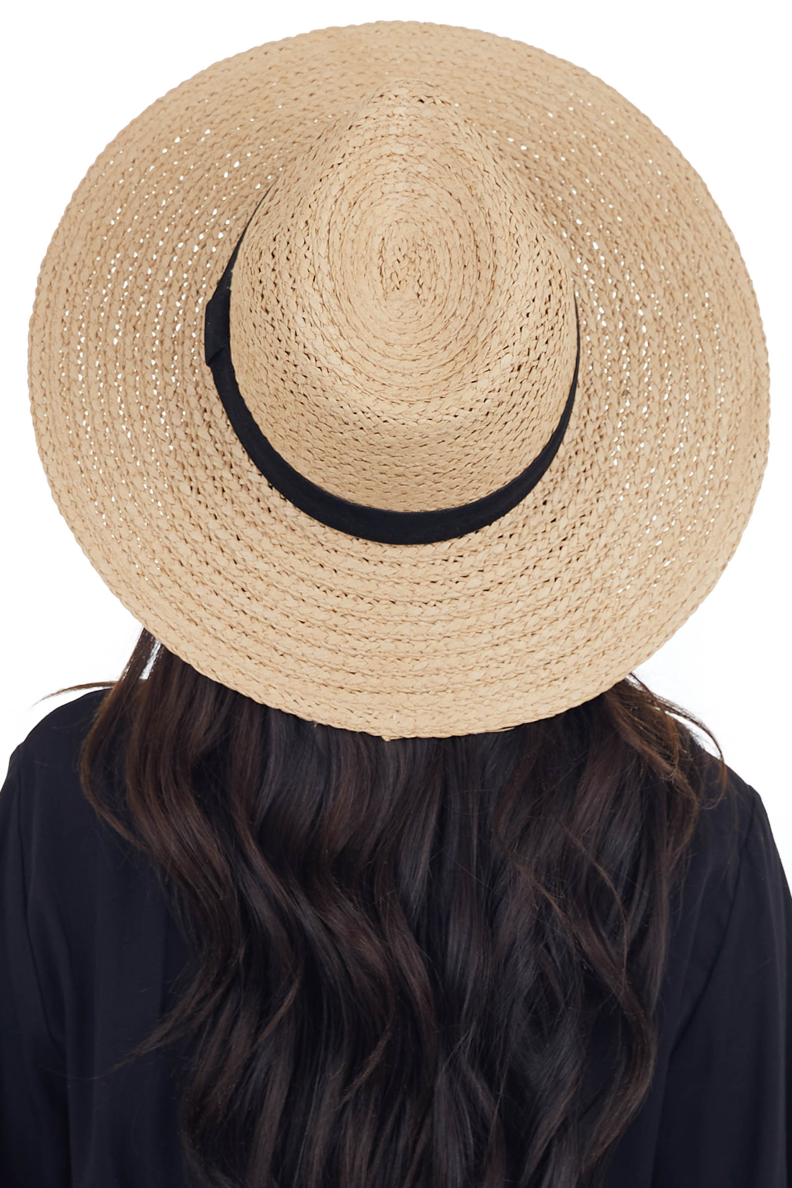 Tan Panama Straw Hat with Black Suede Trim Detail