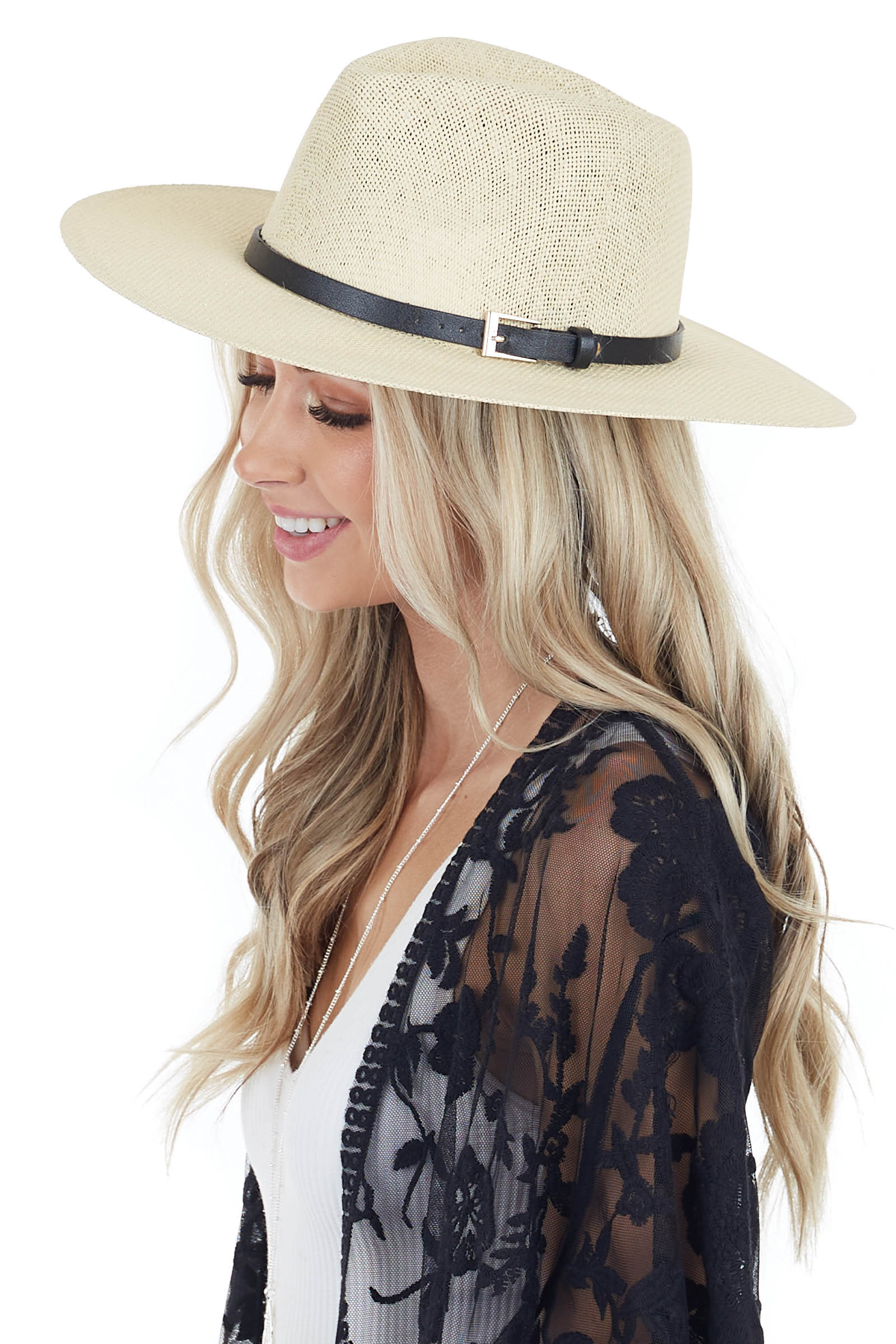 Ivory Open Weave Straw Hat with Black and Gold Belt Detail