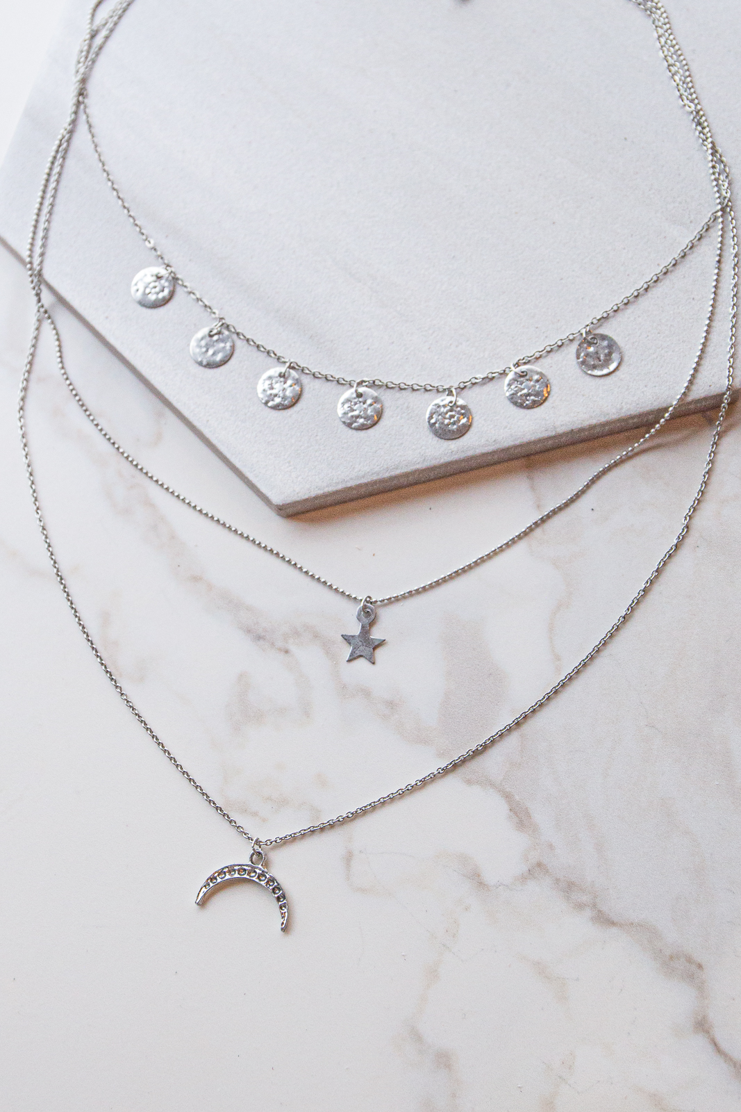 Antique Silver Layered Moon and Star Charm Necklace