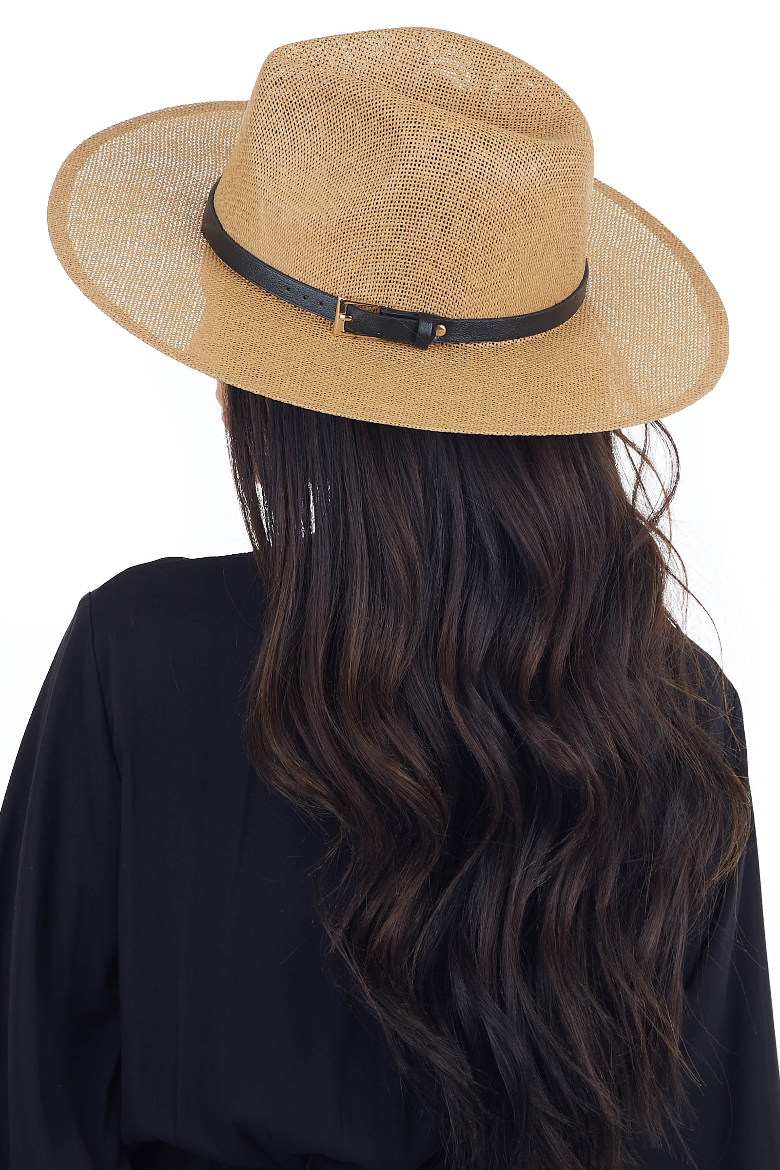 Camel Open Weave Straw Hat with Black and Gold Belt Detail