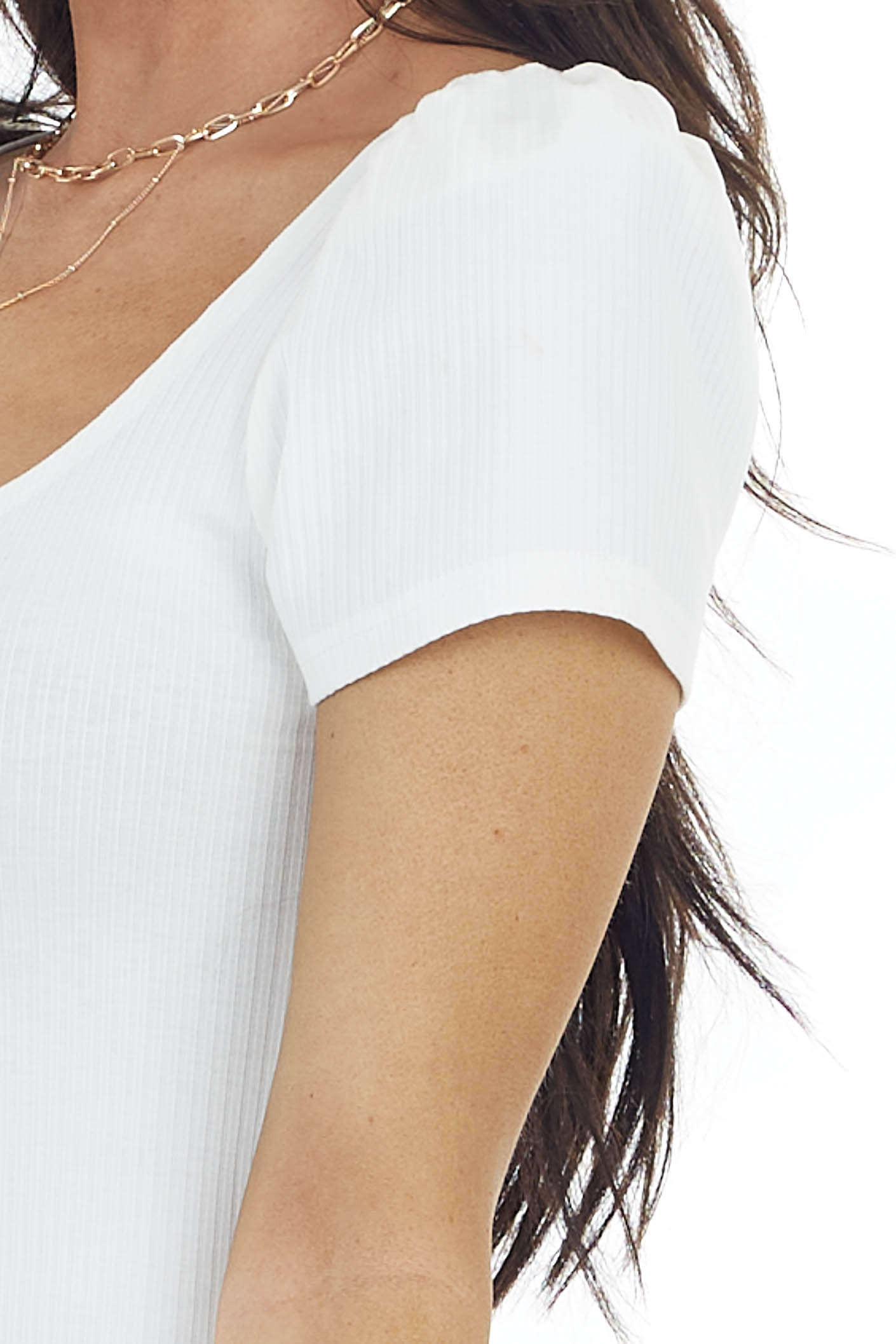 Cream Square Neck Ribbed Knit Top with Short Puff Sleeves