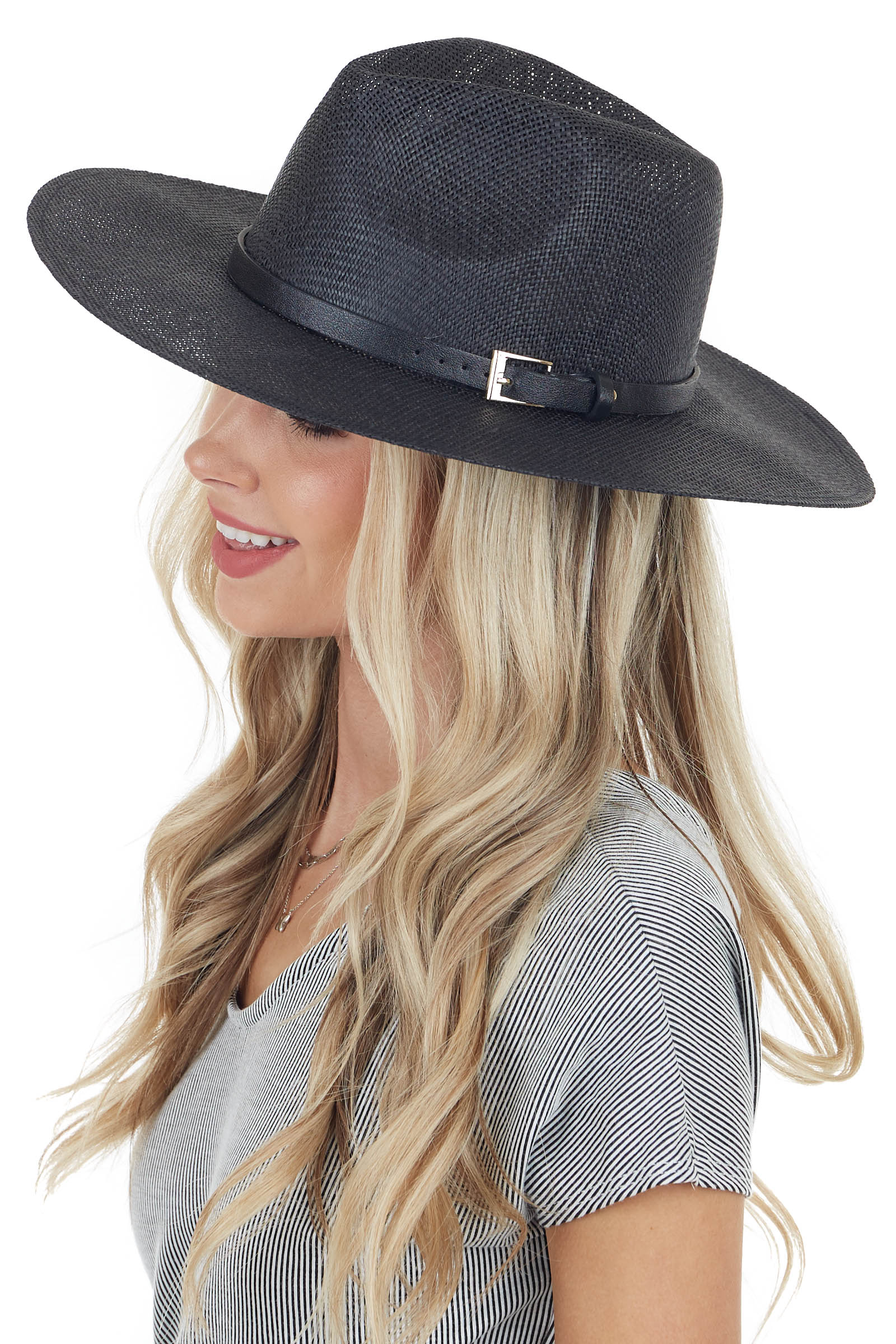 Black Open Weave Straw Hat with Black and Gold Belt Detail