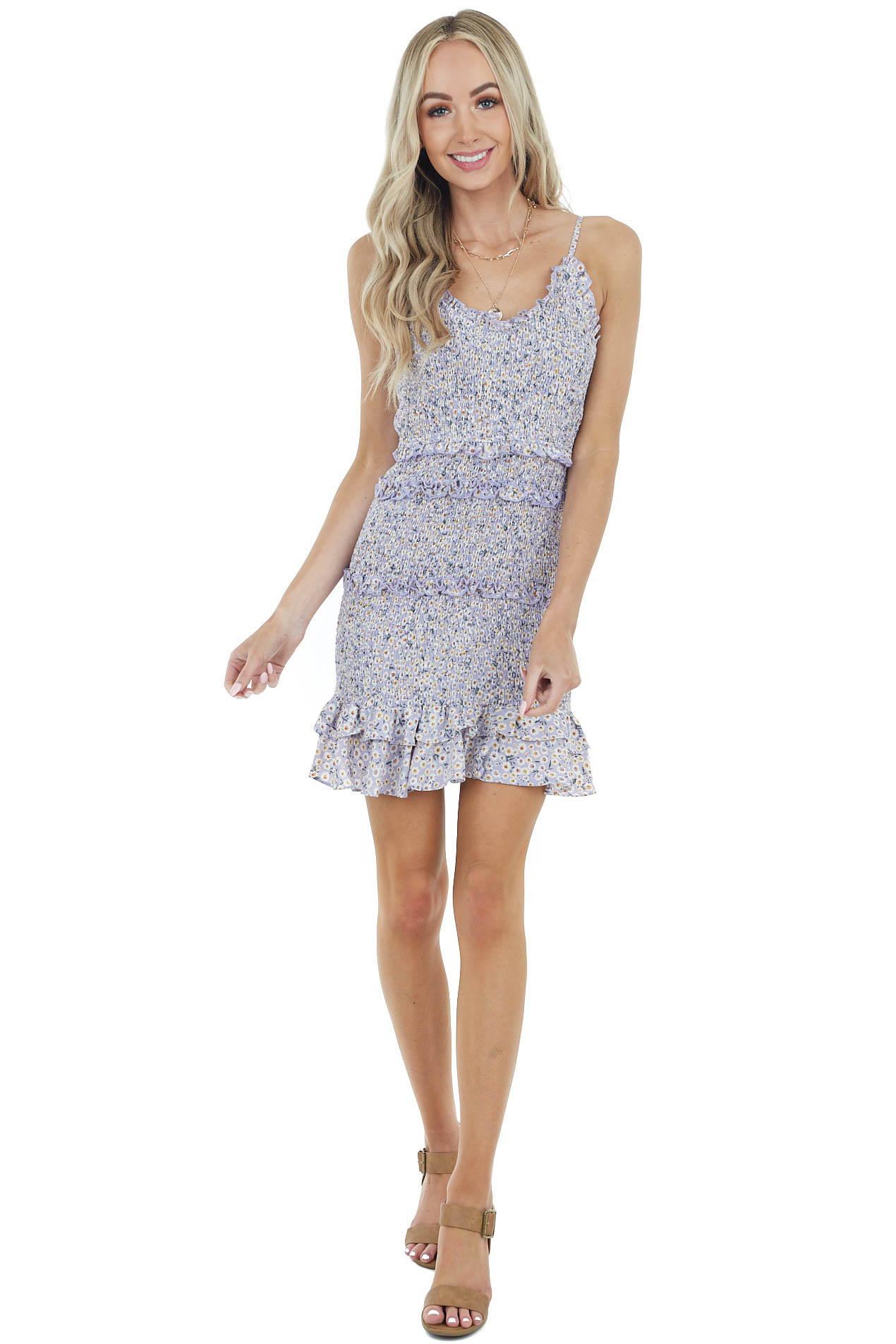Lavender Floral Print Smocked Dress with Spaghetti Straps