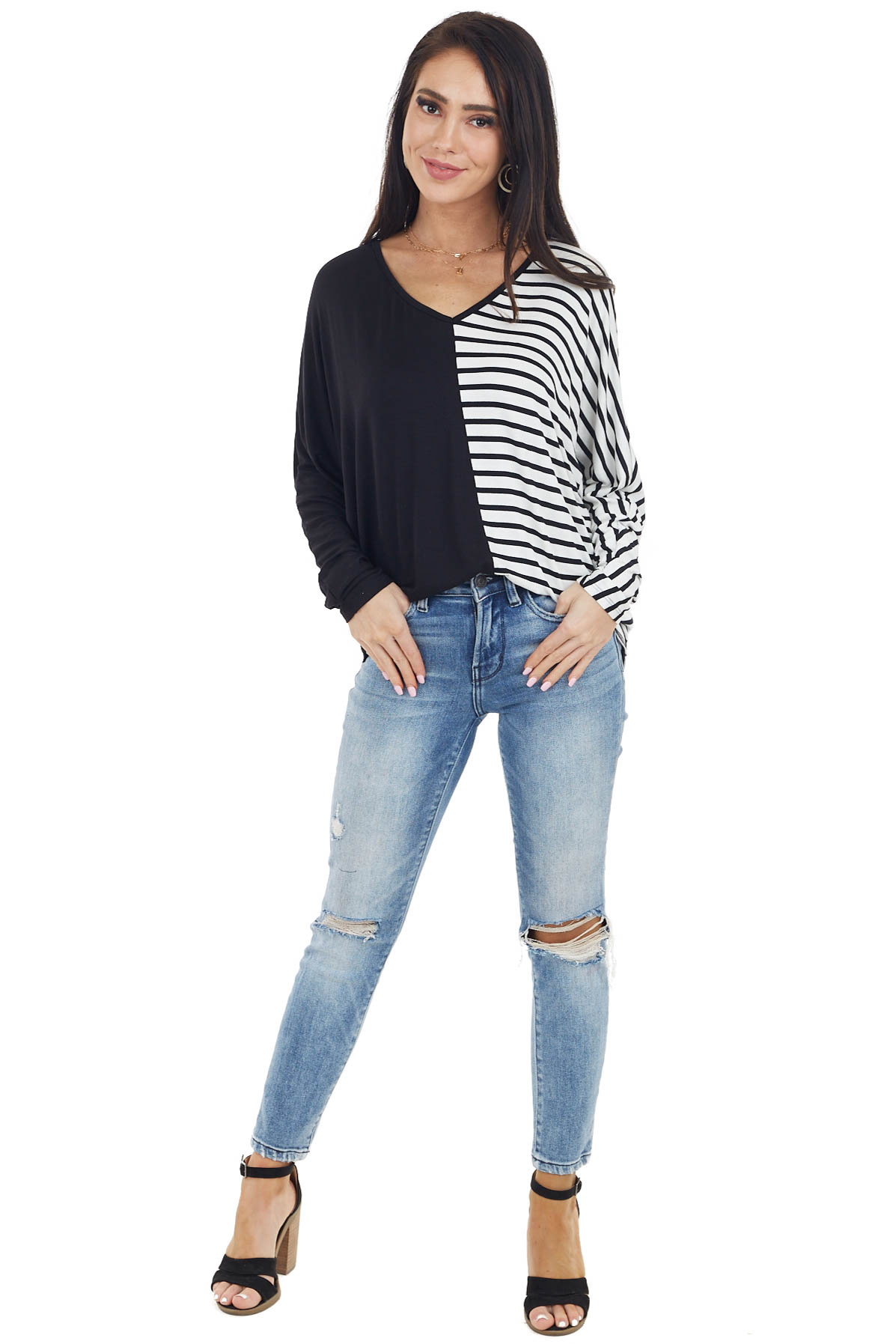 Black Long Dolman Sleeve Top with Striped Contrast