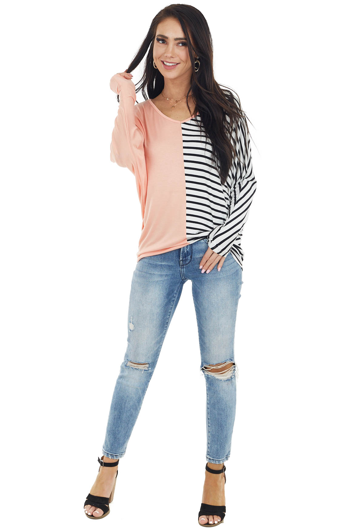 Peach Long Dolman Sleeve Top with Striped Contrast