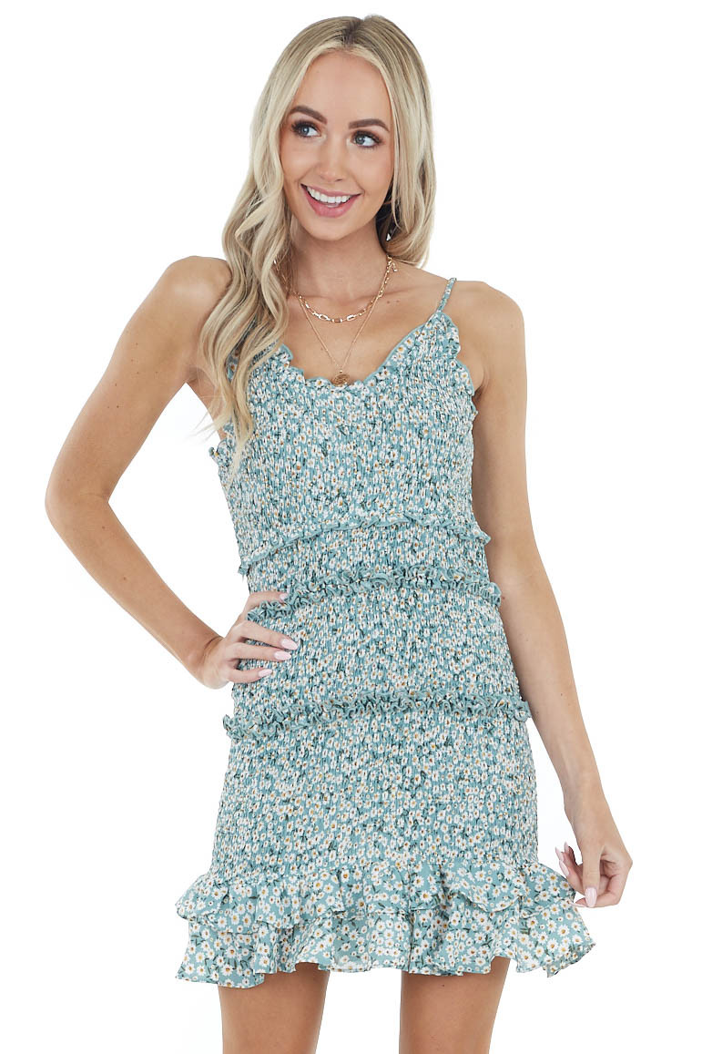 Light Pine Floral Print Smocked Dress with Spaghetti Straps