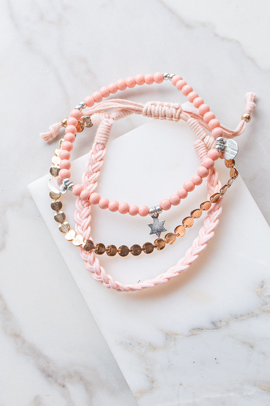 Dusty Blush and Peach Layered Braided Charm Bracelet