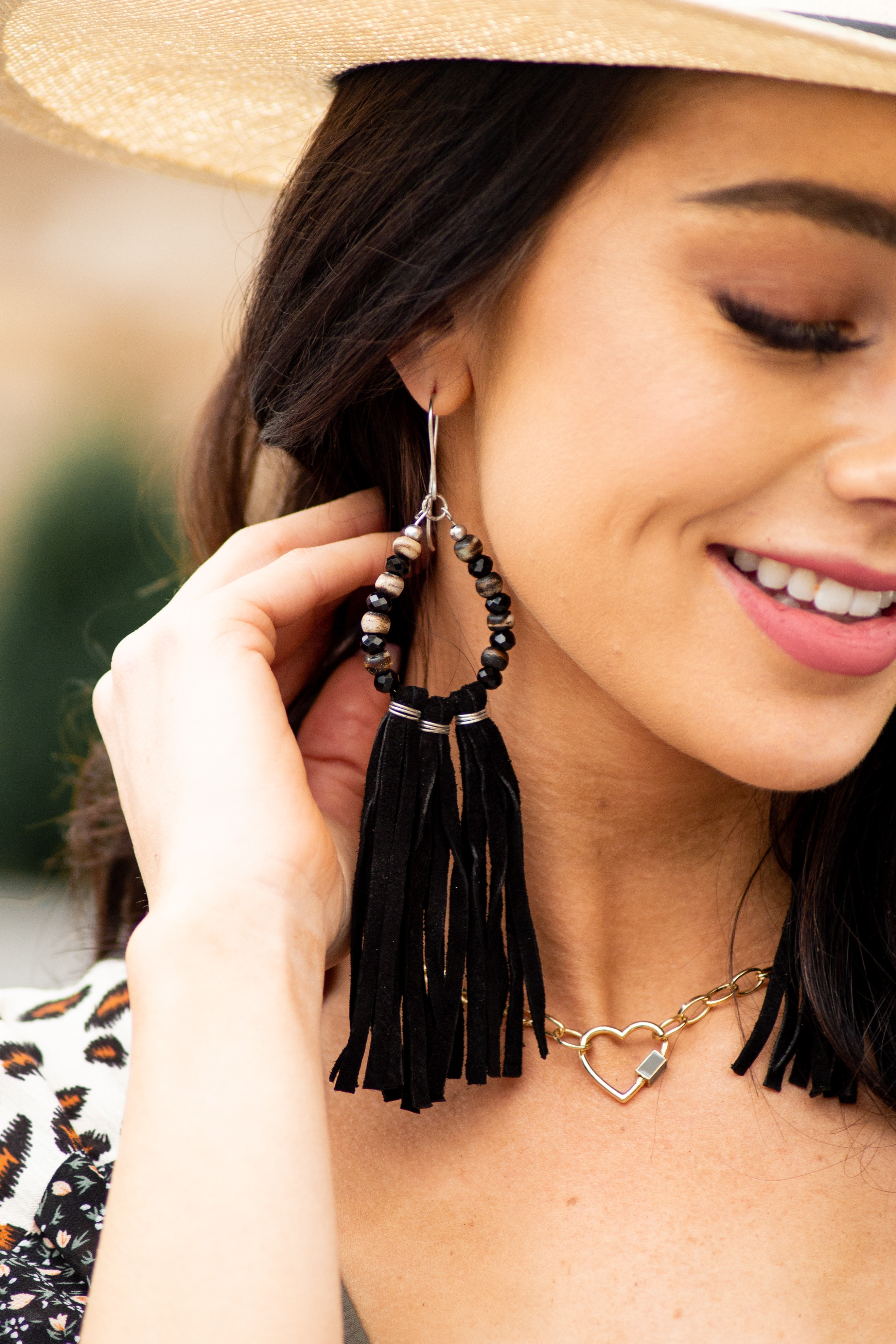 Black and Taupe Tassel Dangle Earrings with Beaded Details