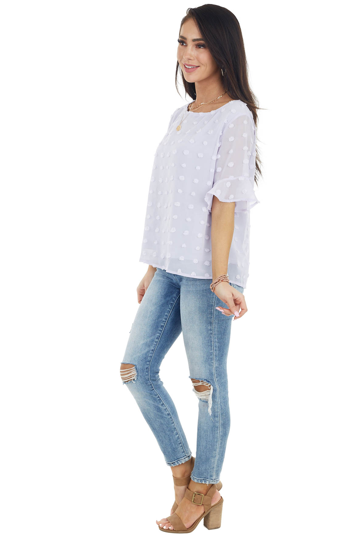 Pale Lavender Swiss Dot Blouse with Short Ruffle Sleeves