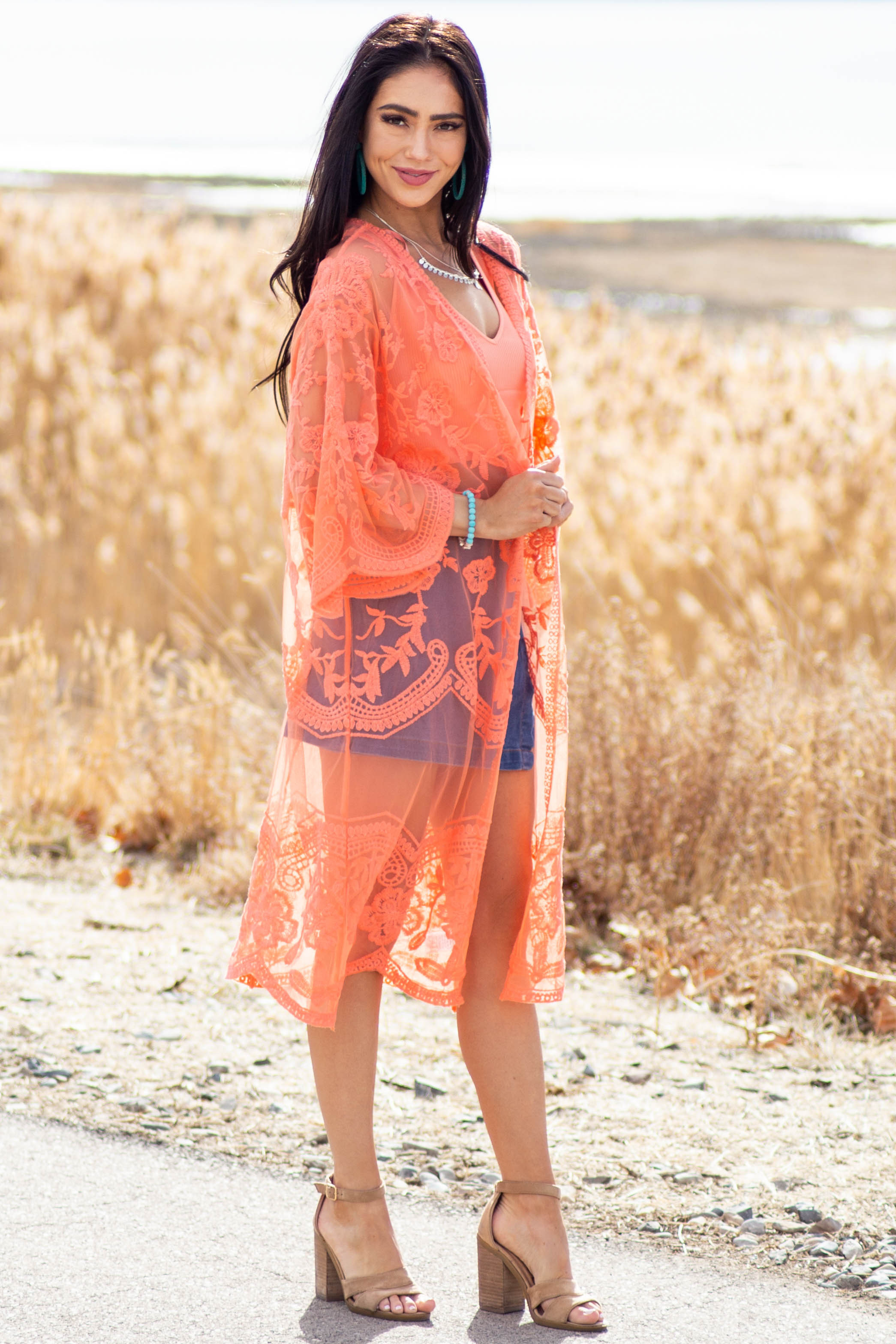 Bright Coral Open Front Lace Kimono with 3/4 Sleeves