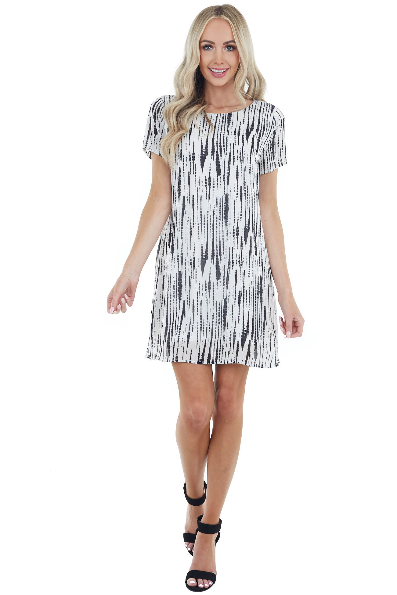 Off White Short Woven Dress with Black Abstract Pattern
