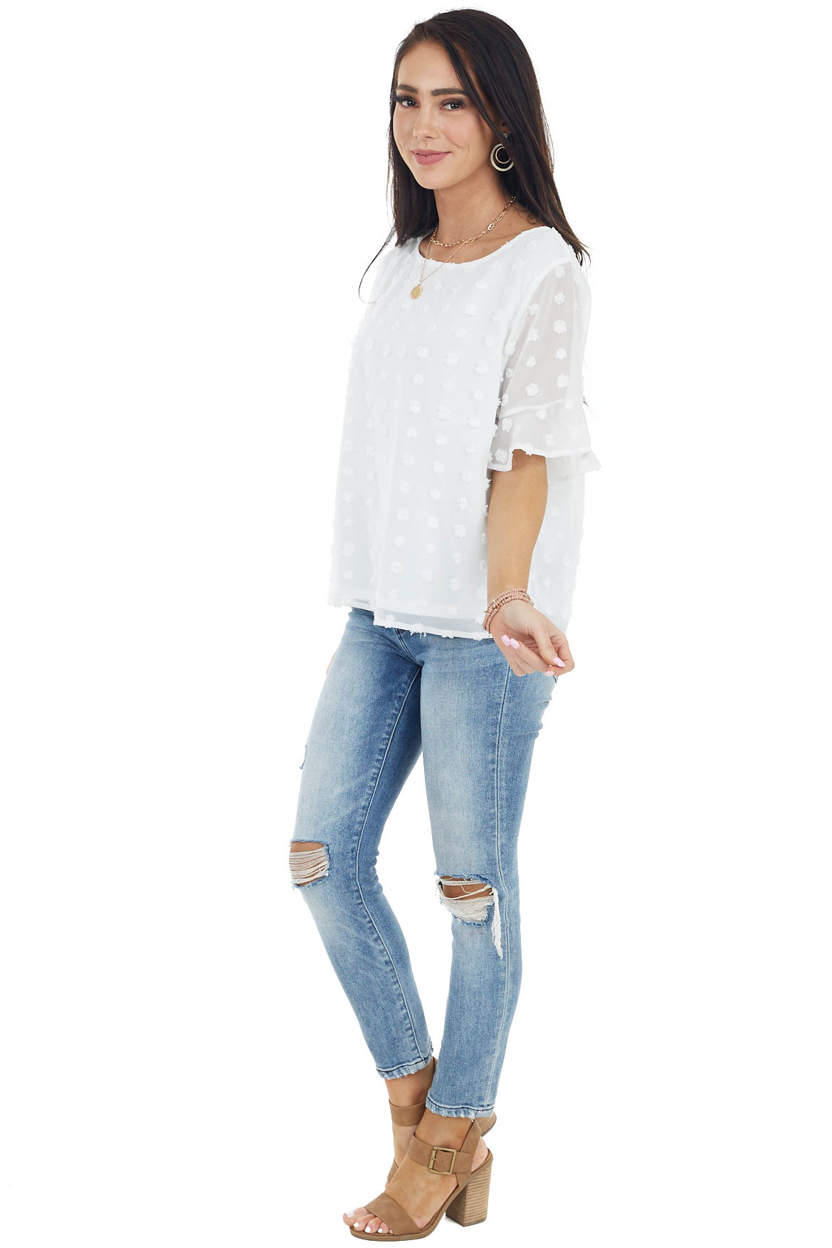 Off White Swiss Dot Blouse with Short Ruffle Sleeves