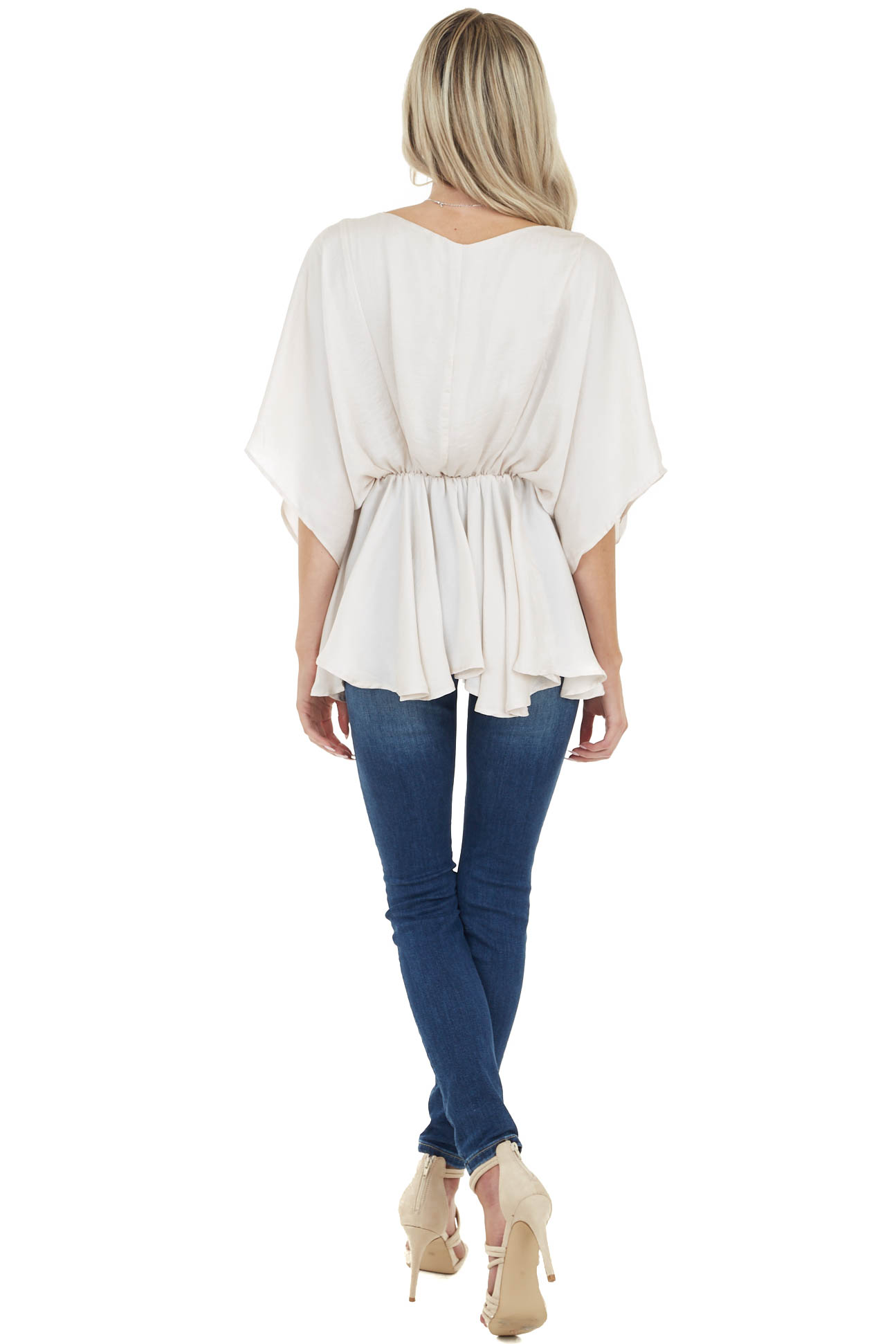 Oatmeal Flowy Drop Waist Blouse with Short Loose Sleeves