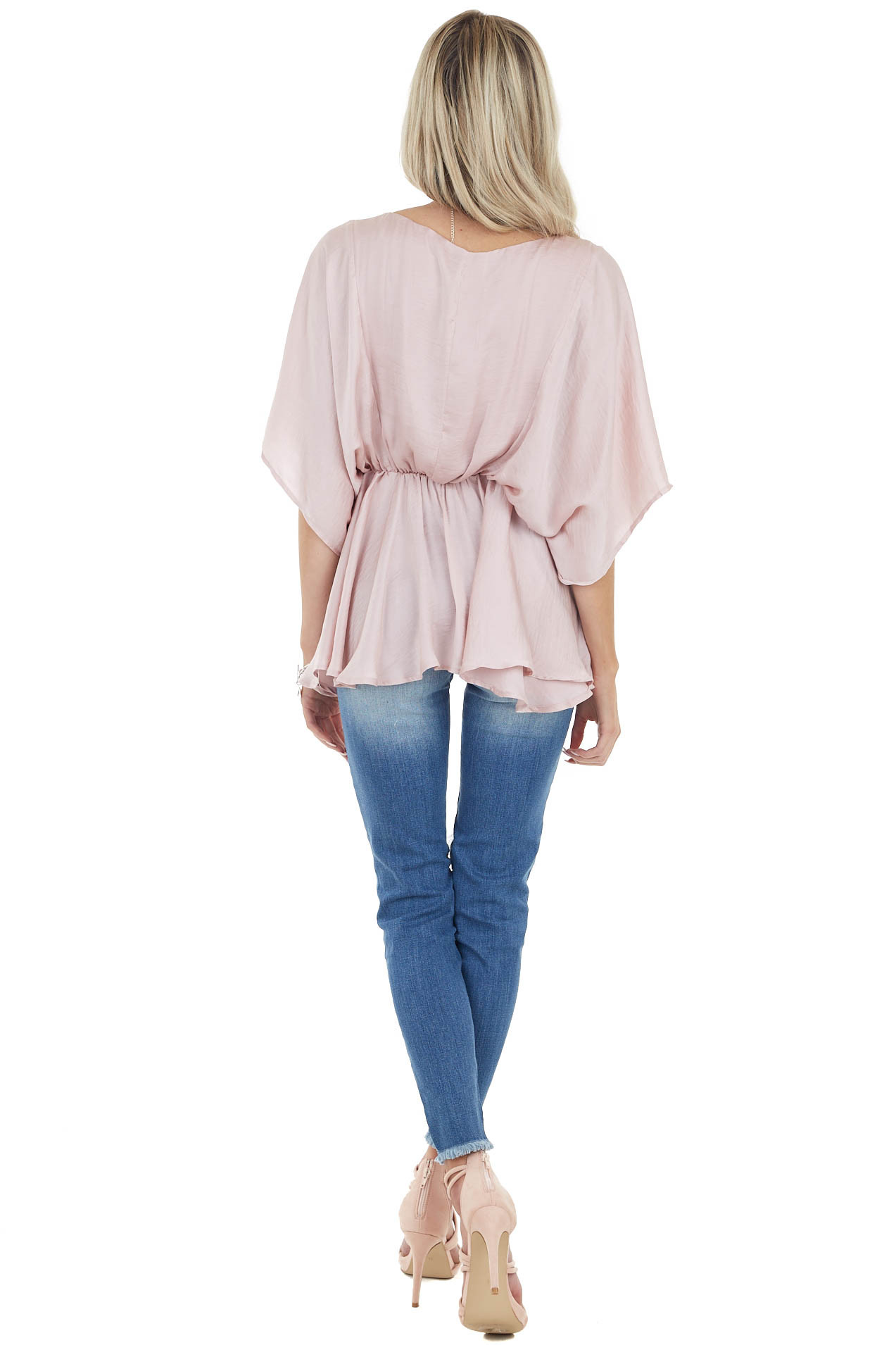 Dusty Blush Flowy Drop Waist Blouse with Short Loose Sleeves
