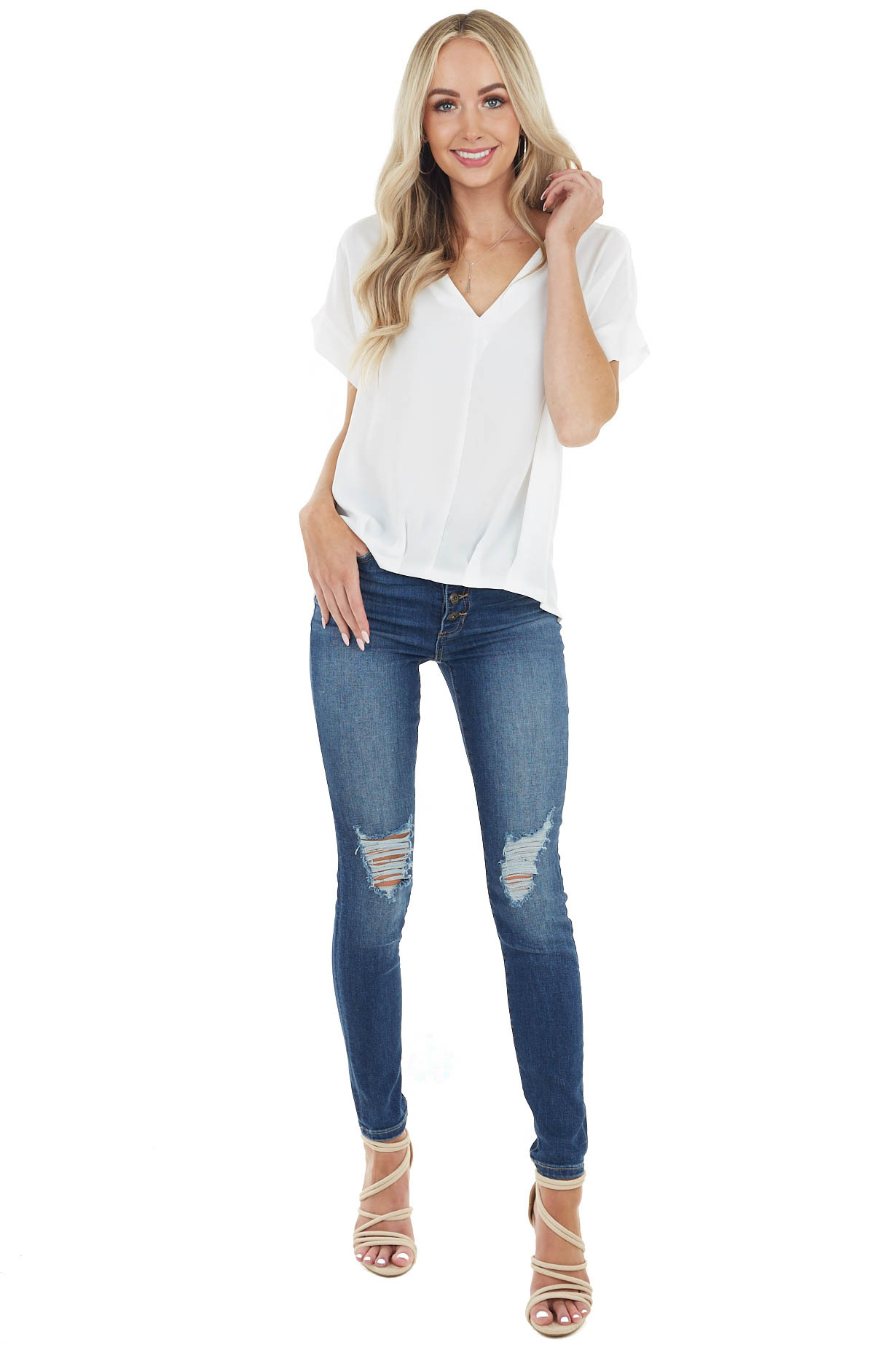 Off White Short Sleeve Blouse with High Low Hemline