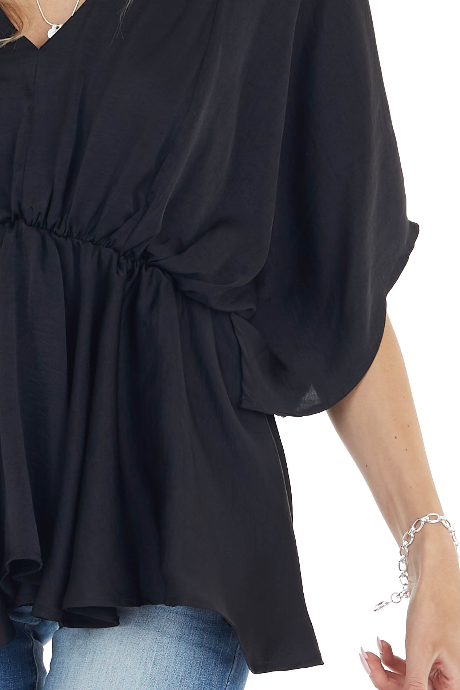 Black Flowy Drop Waist Blouse with Short Loose Sleeves