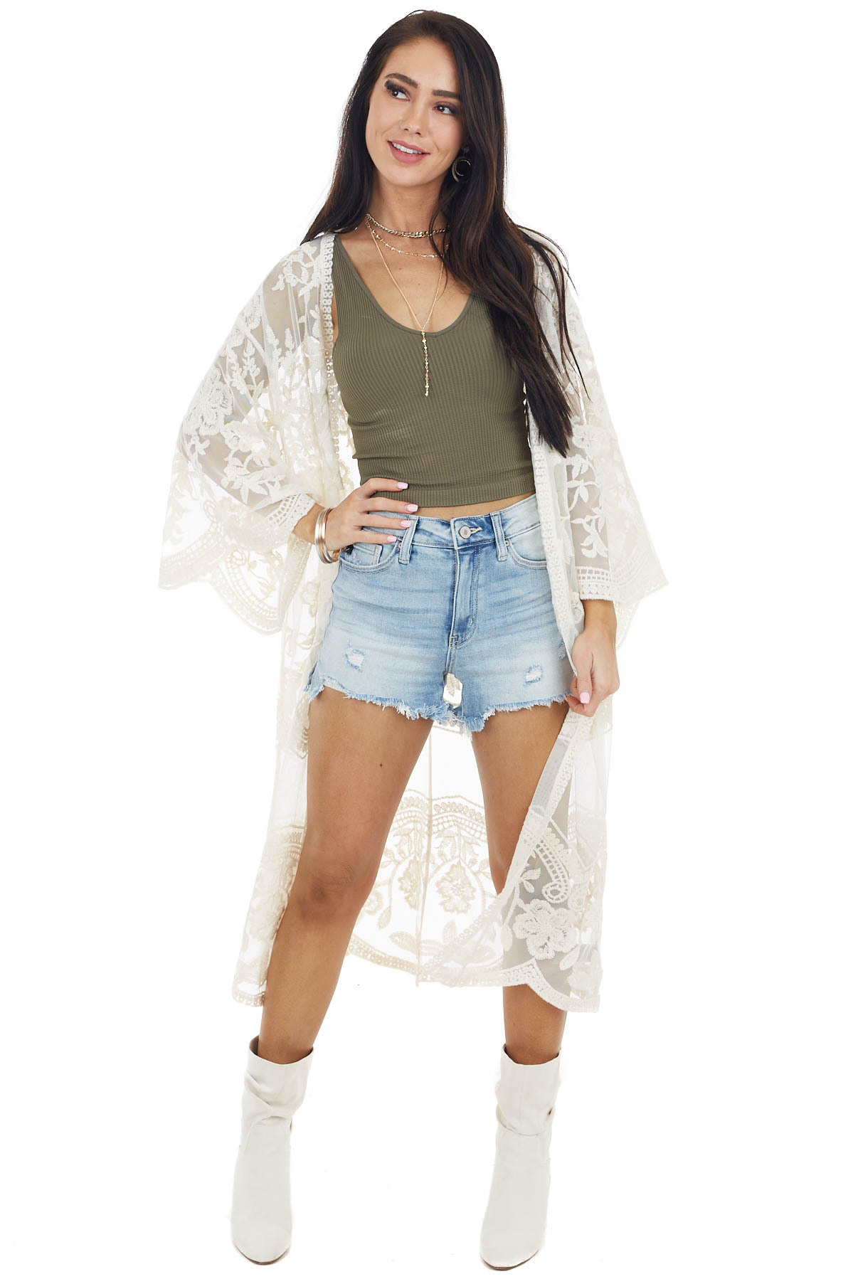 Cream Open Front Lace Kimono with 3/4 Sleeves