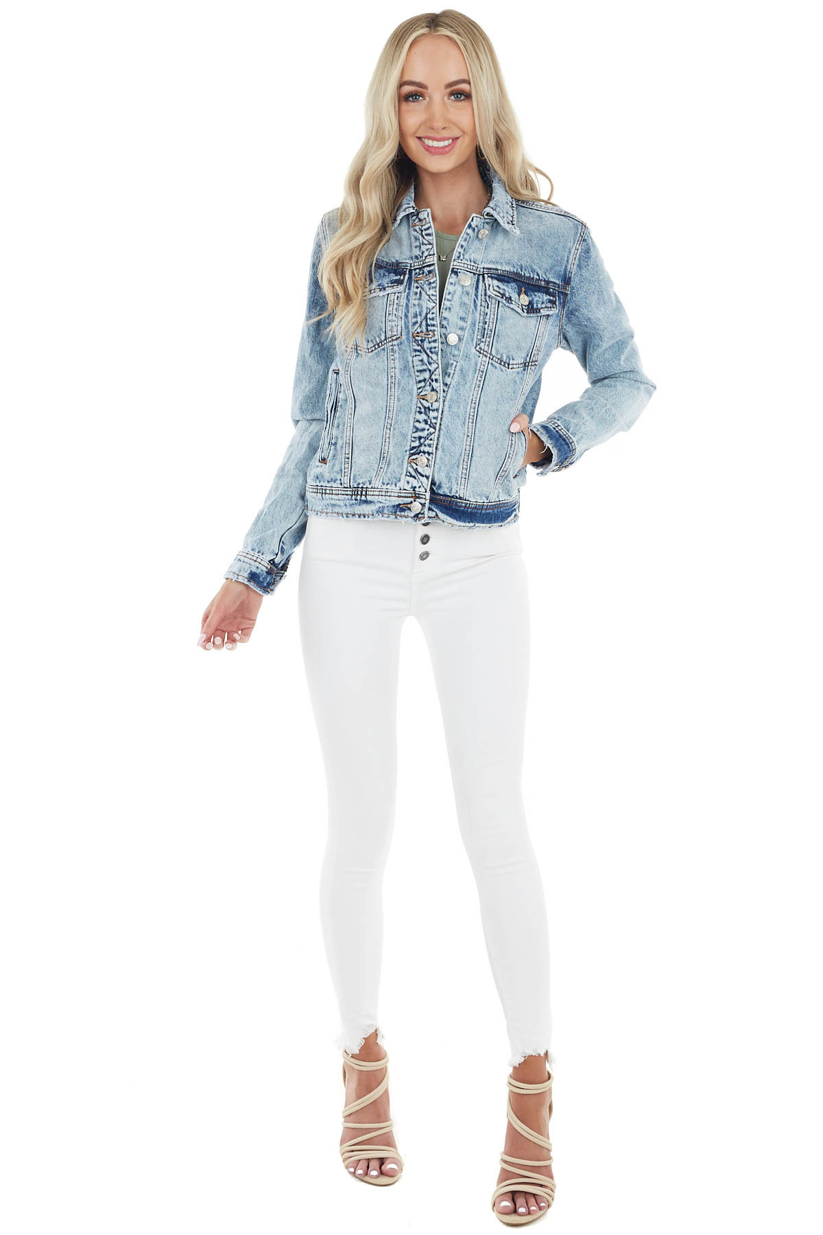 Light Acid Wash Denim Jacket with Light Distressing