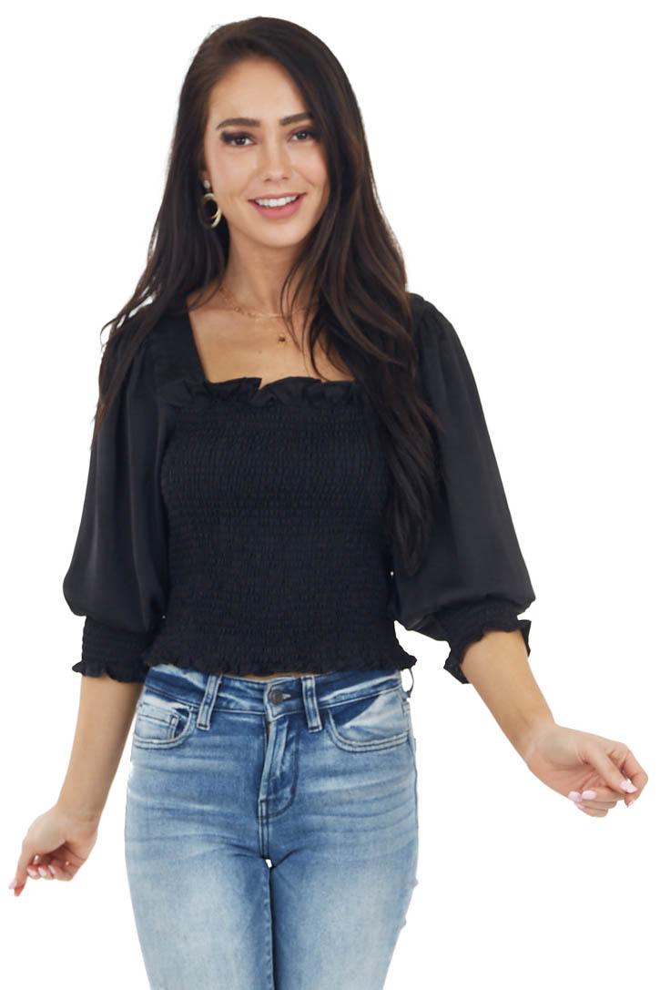 Black Long Bubble Sleeve Smocked Blouse with Tie Detail