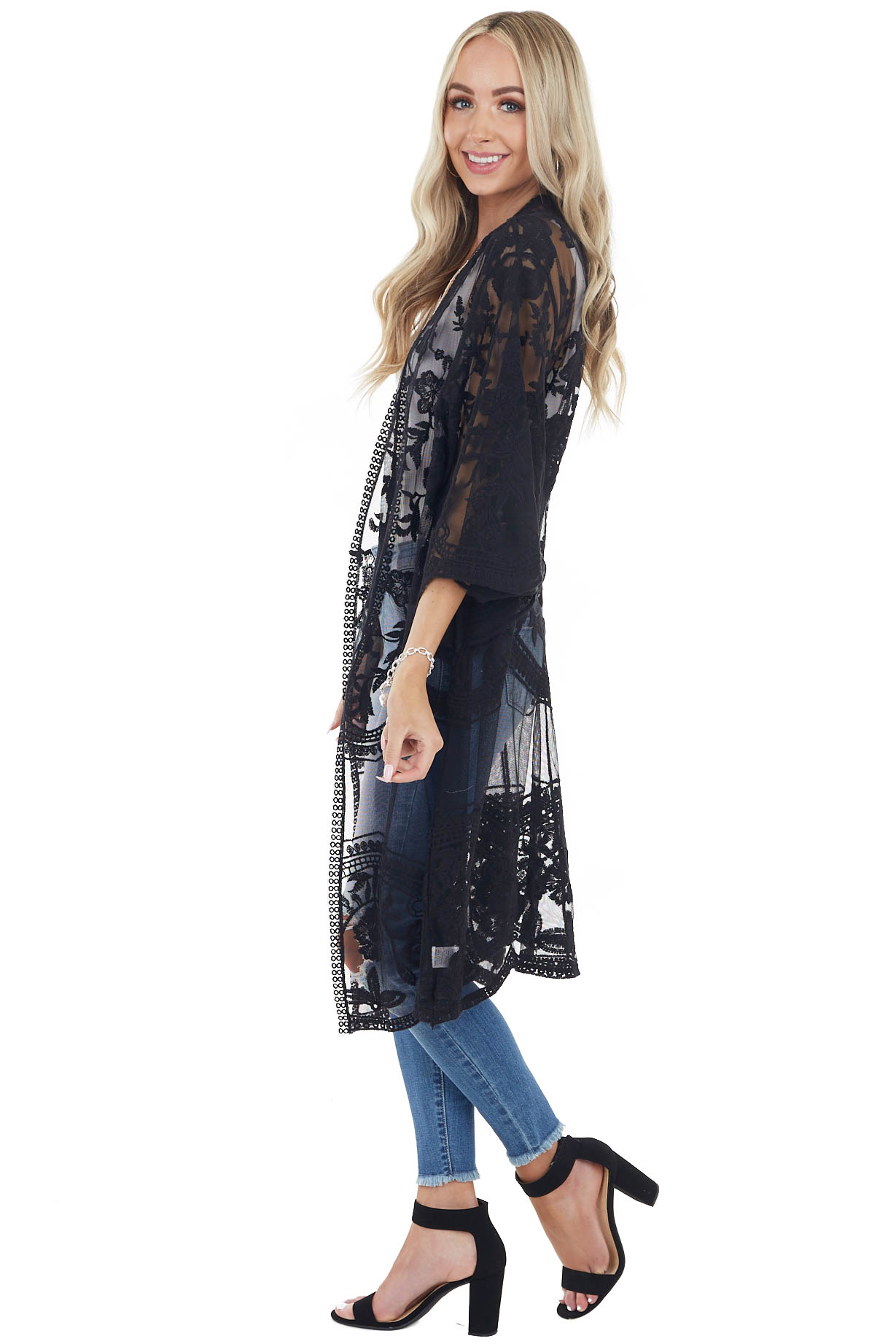 Black Open Front Lace Kimono with 3/4 Sleeves