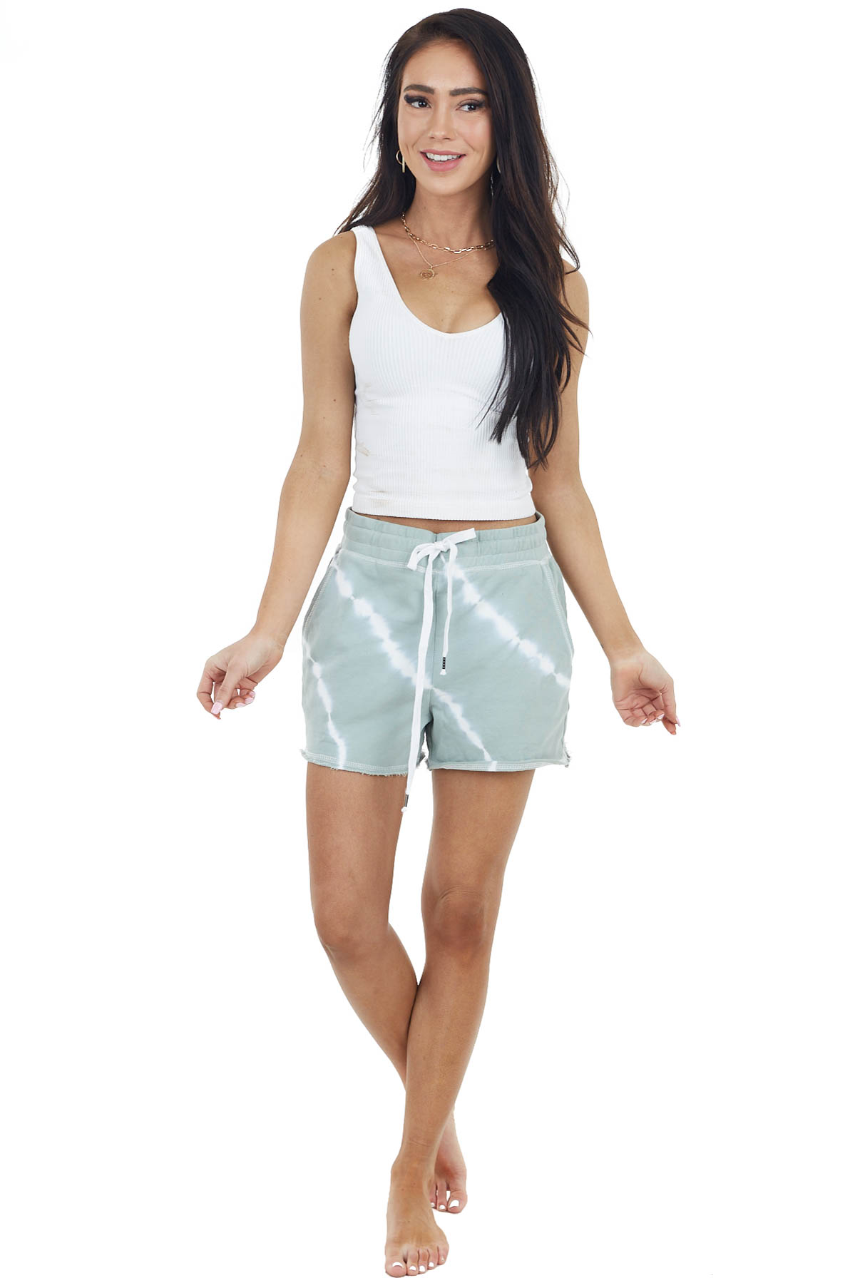 Pale Sage and White Tie Dye Drawstring Shorts with Pockets