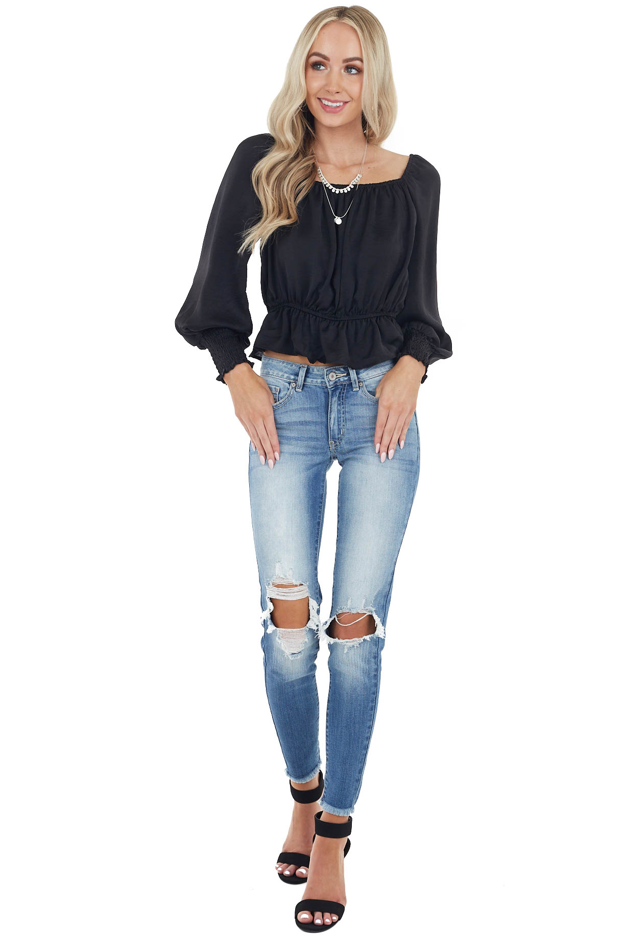 Black Peplum Crop Top with Bubble Sleeves and Smocked Cuffs