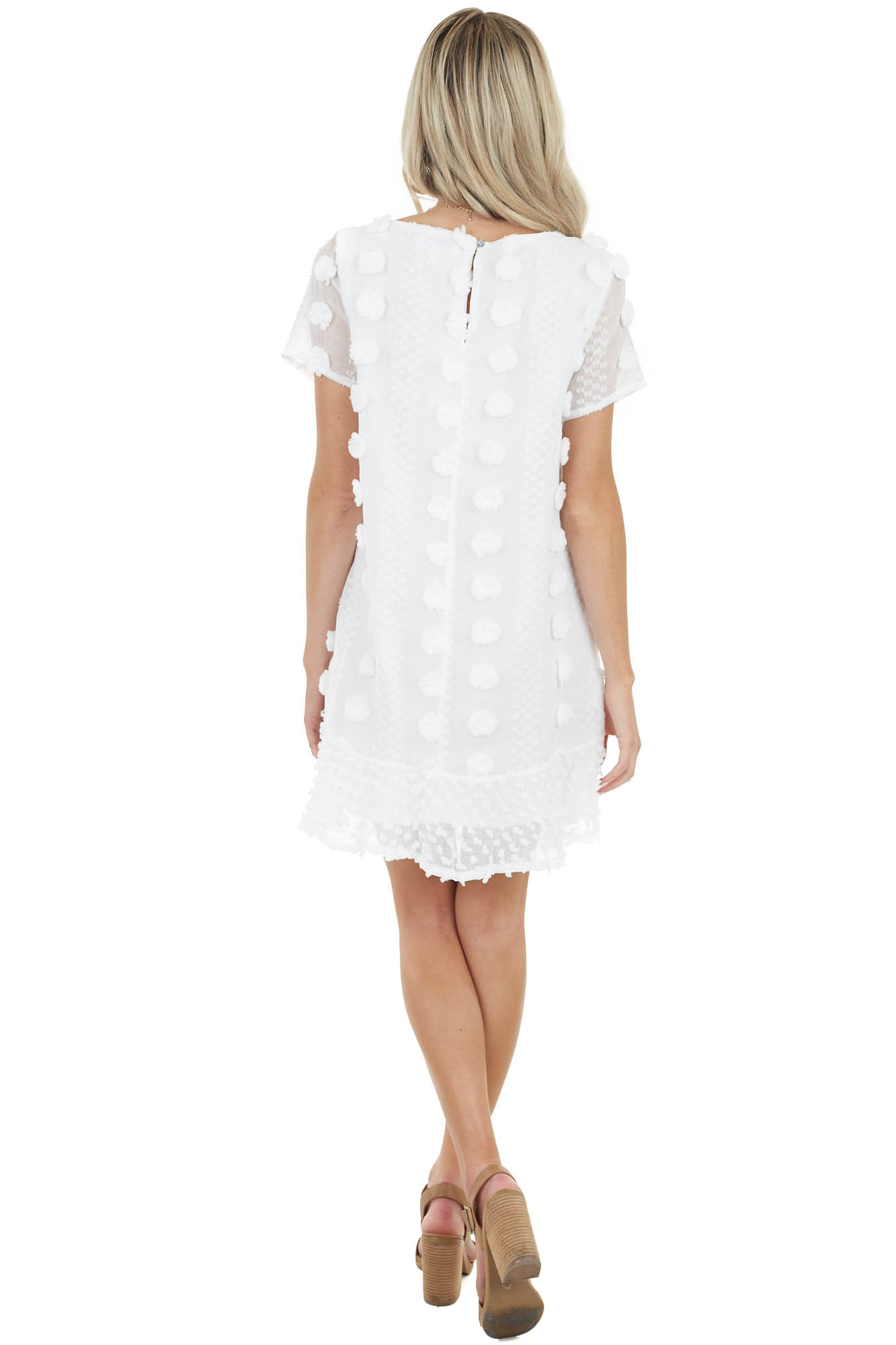 Ivory Dress with 3D Textured Details and Ruffle Hemline