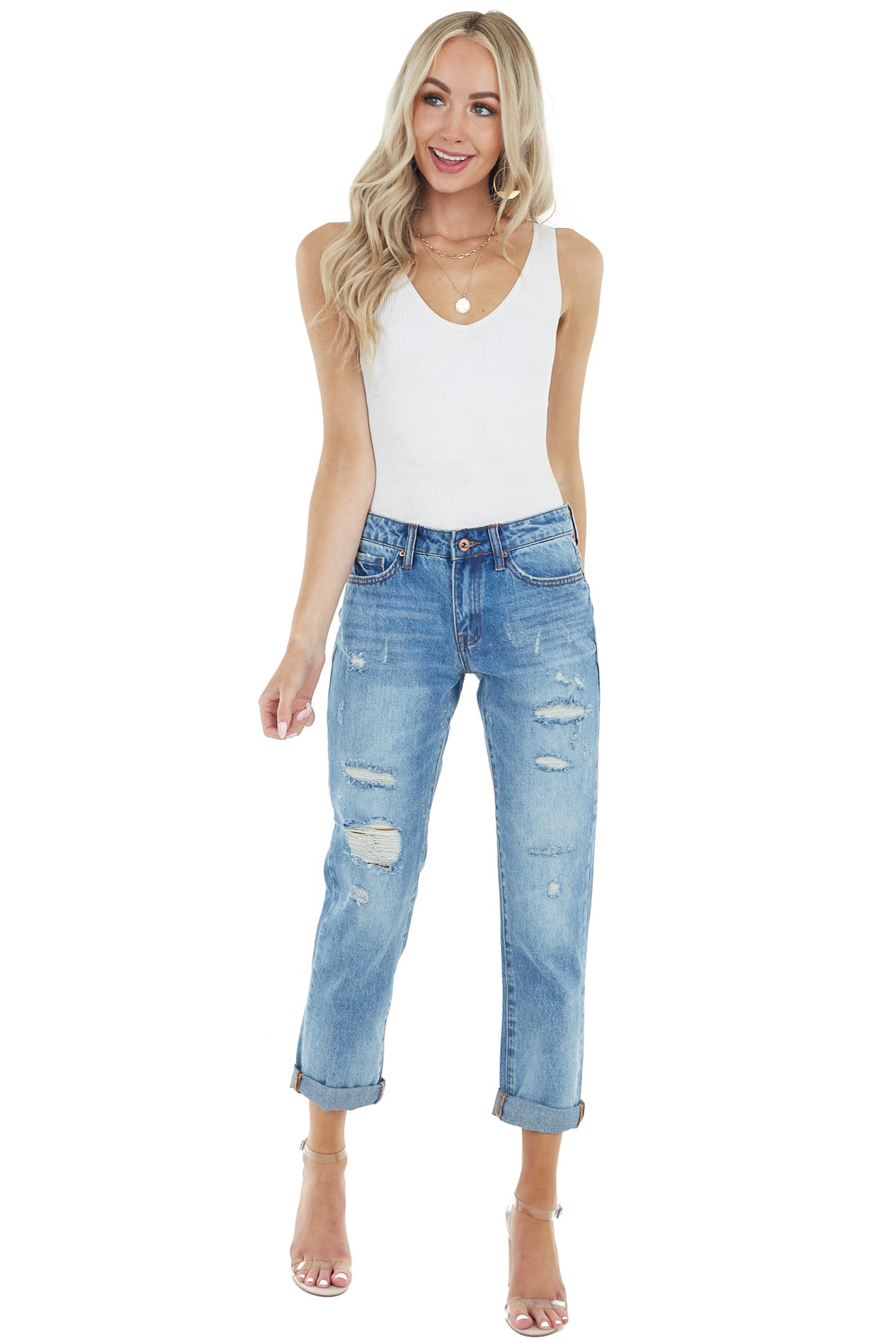 Medium Wash Mid Rise Skinny Jeans with Rolled Up Hem