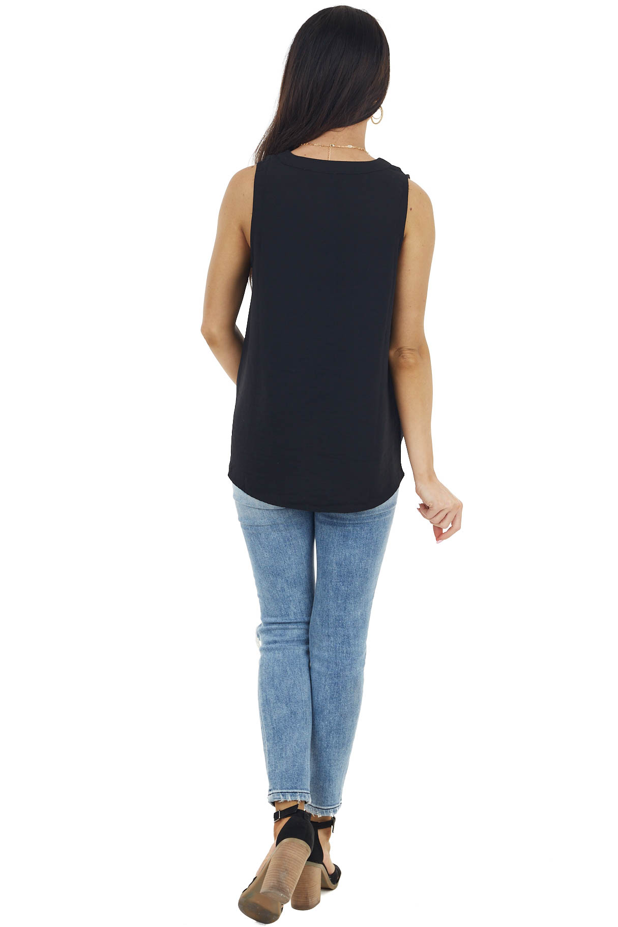 Black Sleeveless V Neckline Woven Top with Pleated Detail