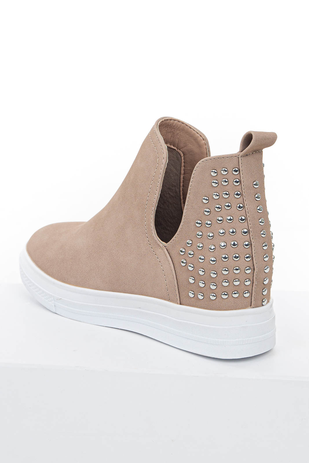 Latte Faux Leather Wedge Sneakers with Silver Studded Heel
