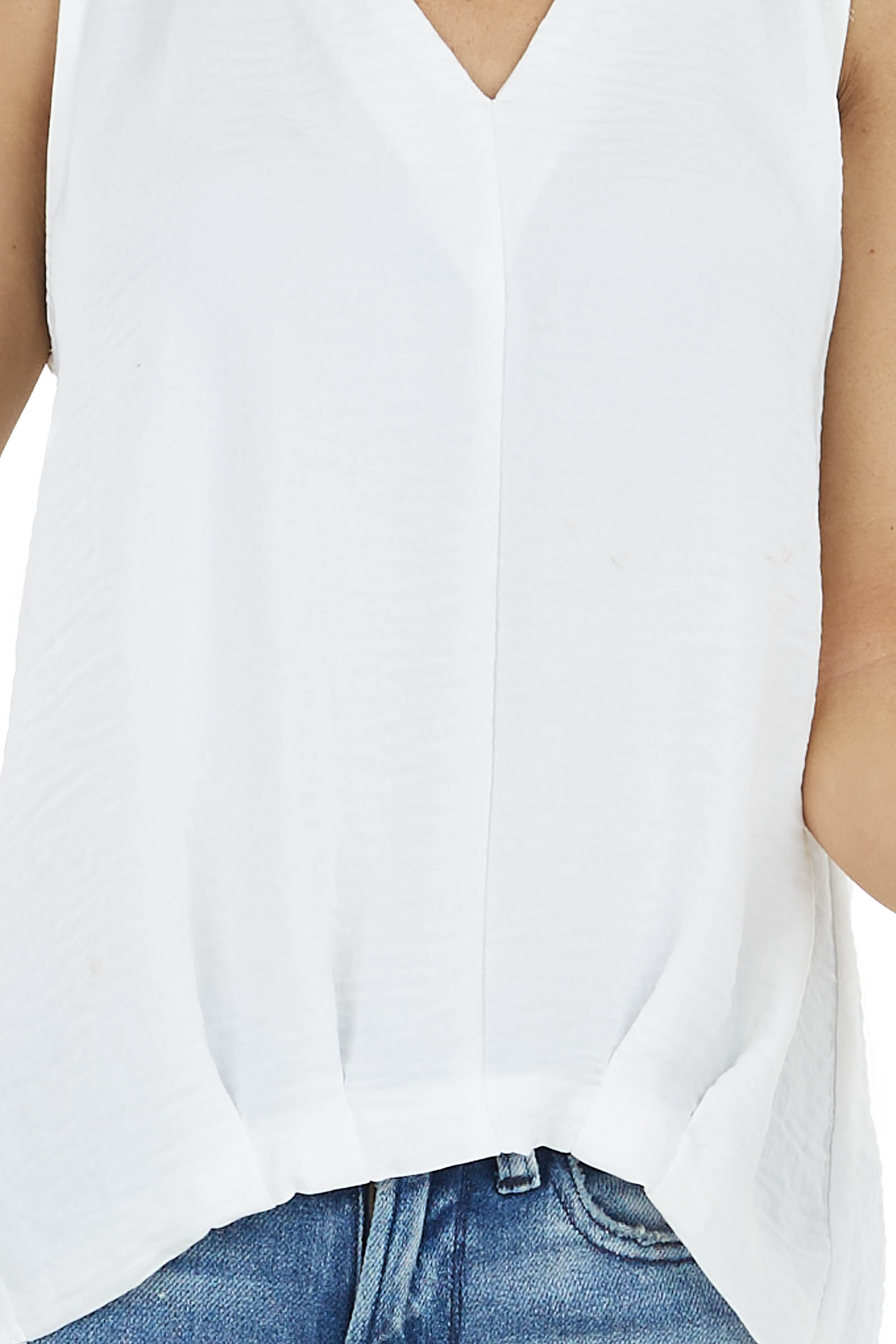 Off White Sleeveless V Neckline Top with Pleated Detail