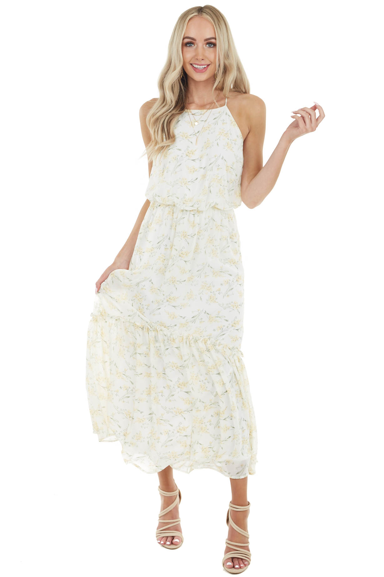 Cream Floral Print Sleeveless Maxi Dress with Cinched Waist