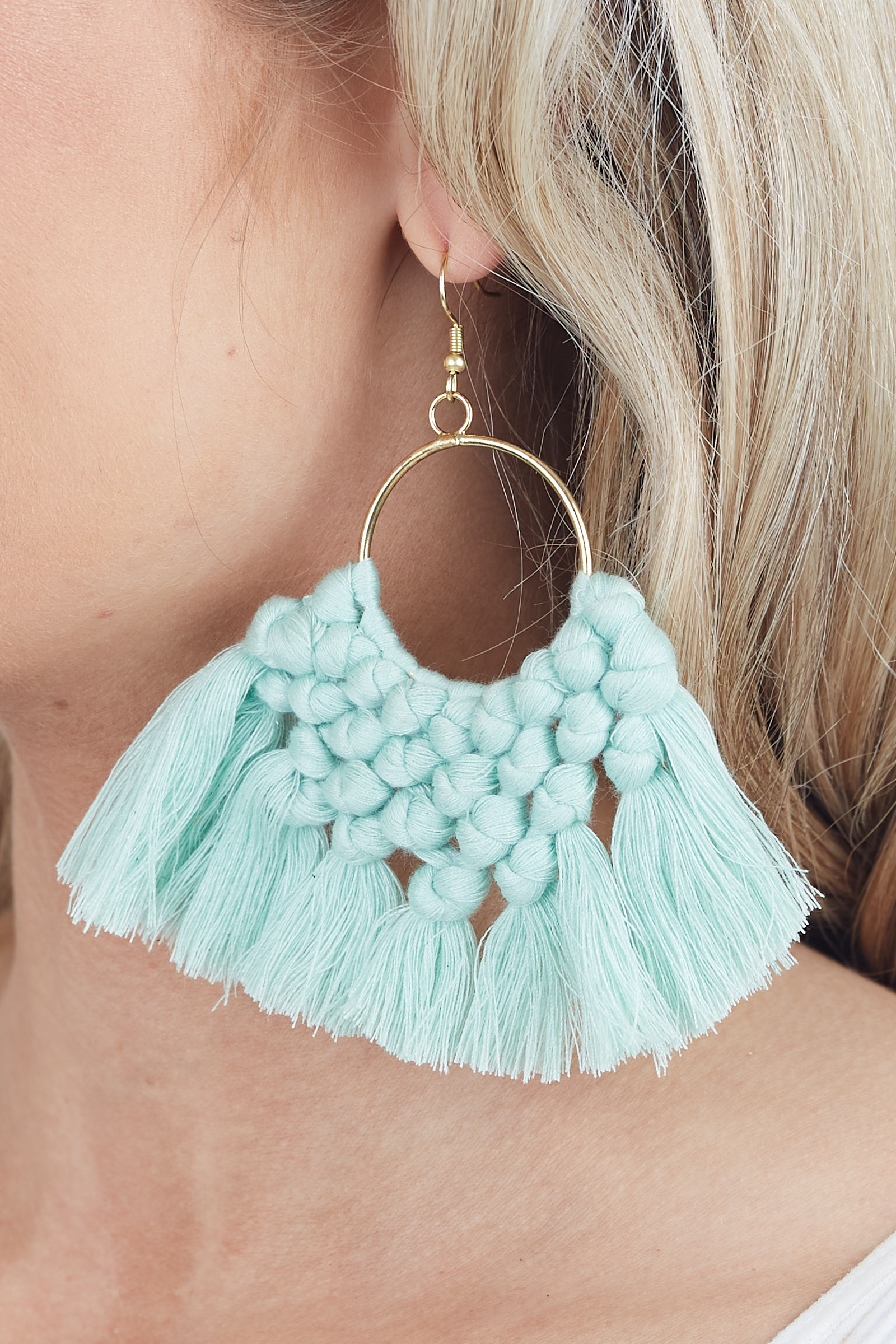 Gold Hoop Earrings with Mint Tassels and Woven Details