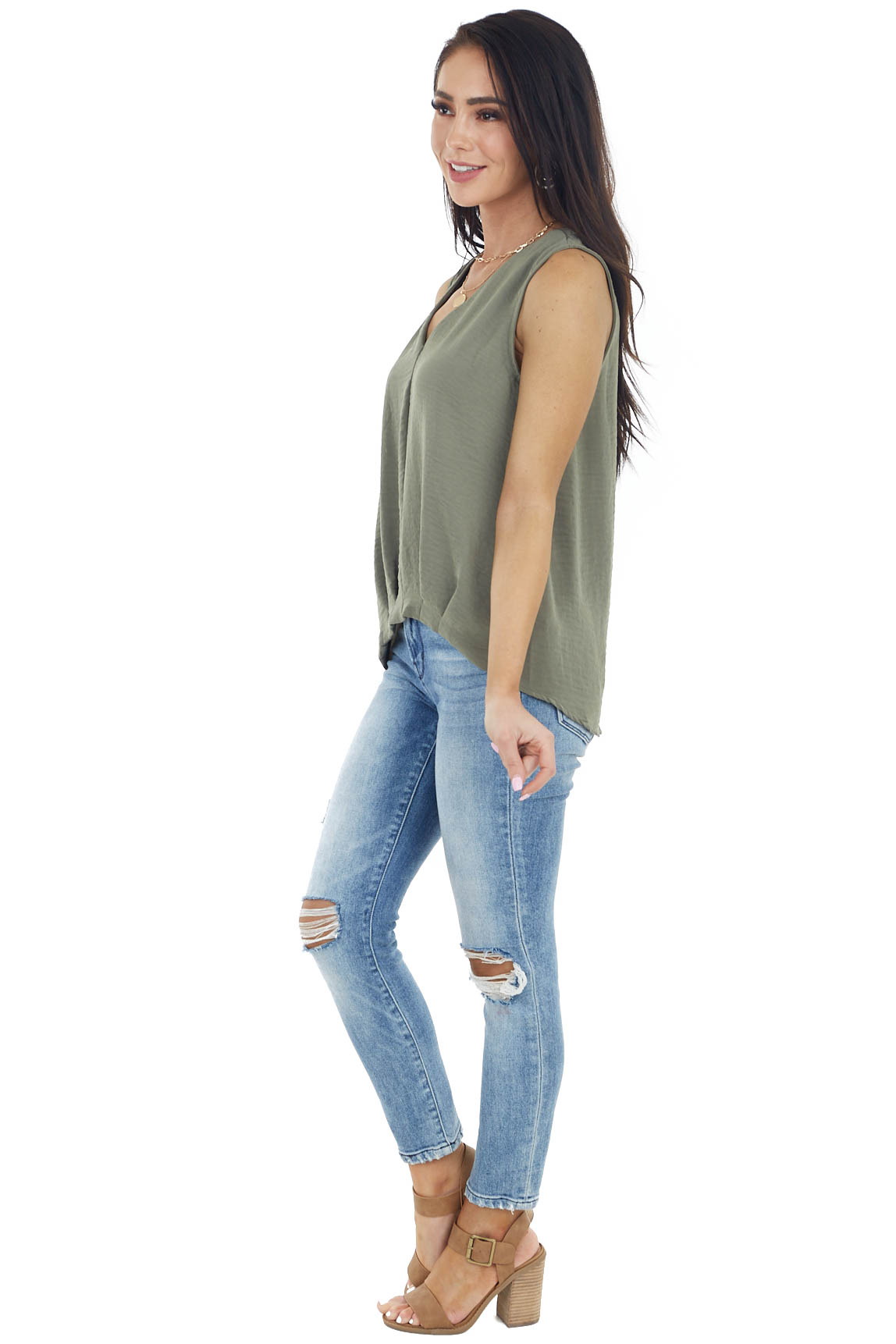 Olive Sleeveless V Neckline Woven Top with Pleated Detail