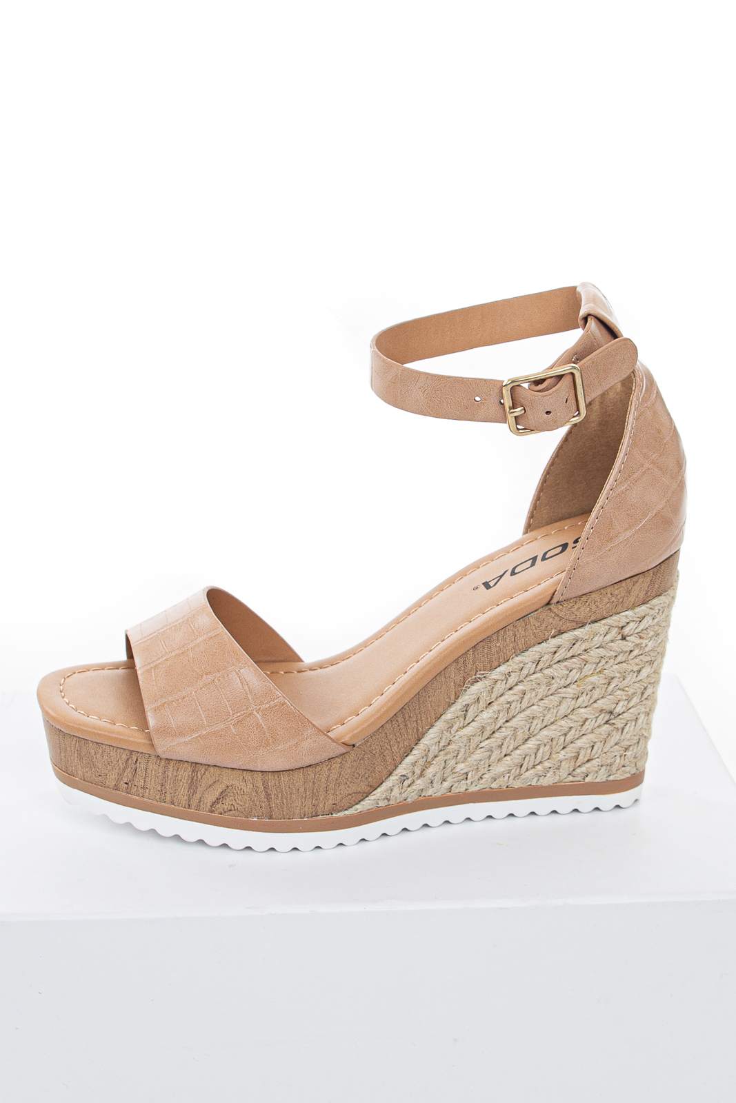 Latte Crocodile Texture Faux Leather Espadrille Wedges