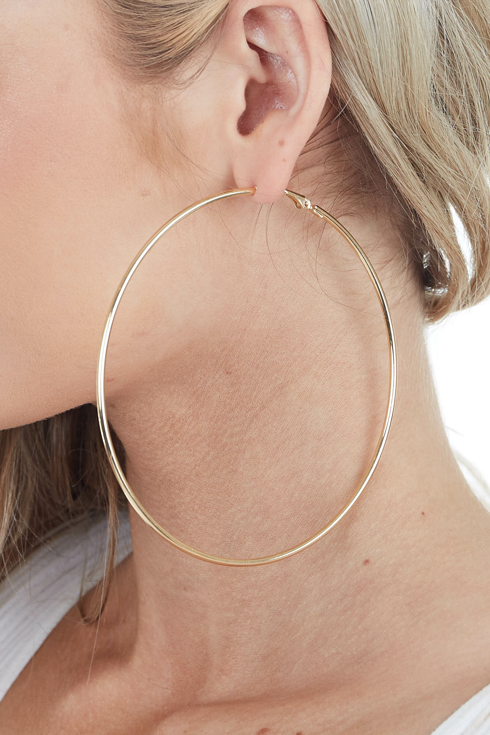Gold Oversized Metal Hoop Earrings with Hoop Closure