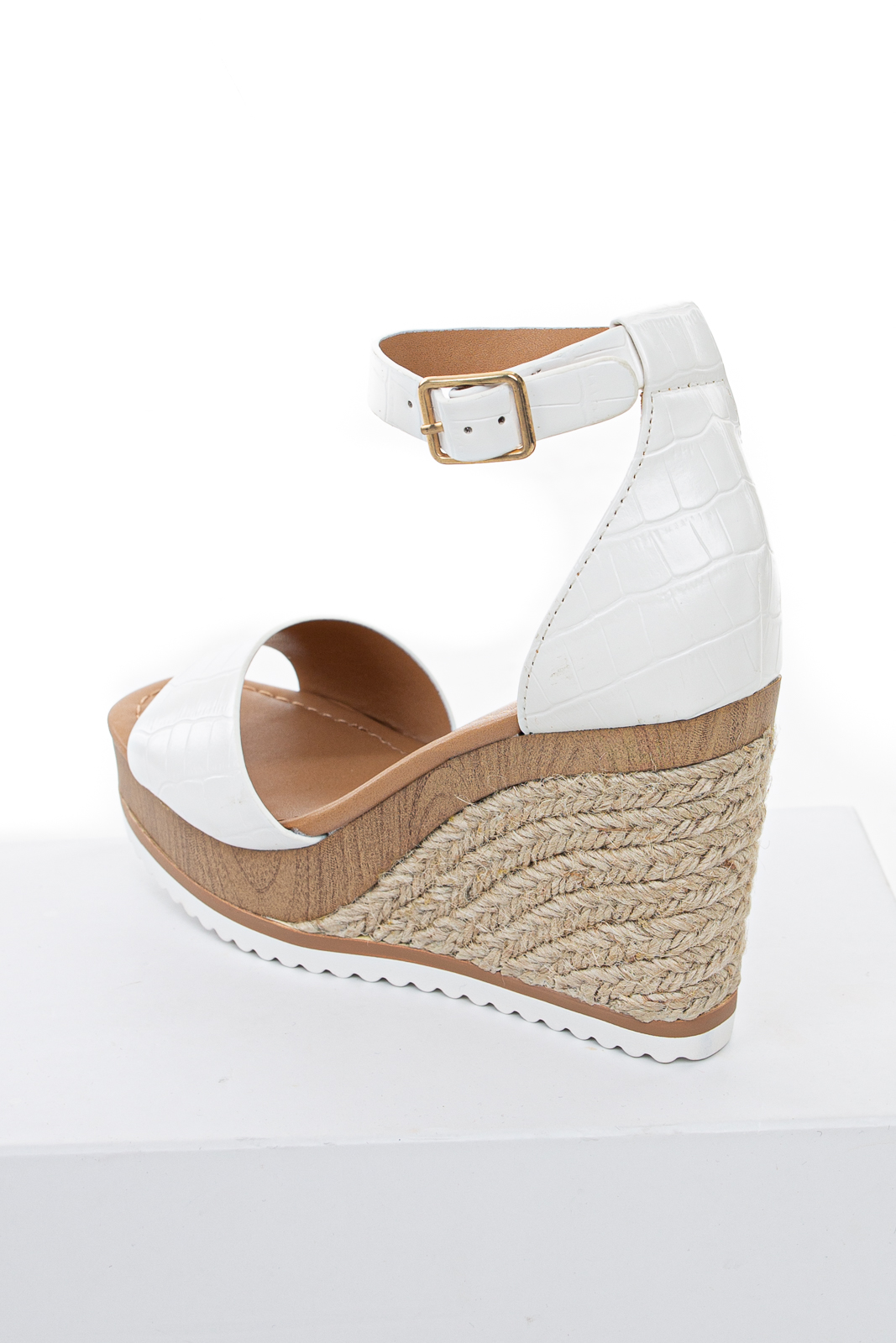 Off White Crocodile Texture Faux Leather Espadrille Wedges