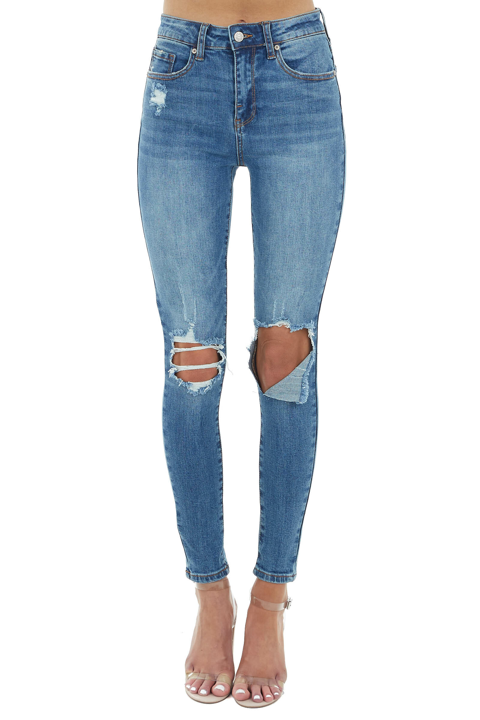 Medium Wash High Rise Skinny Jeans with Destroyed Knees