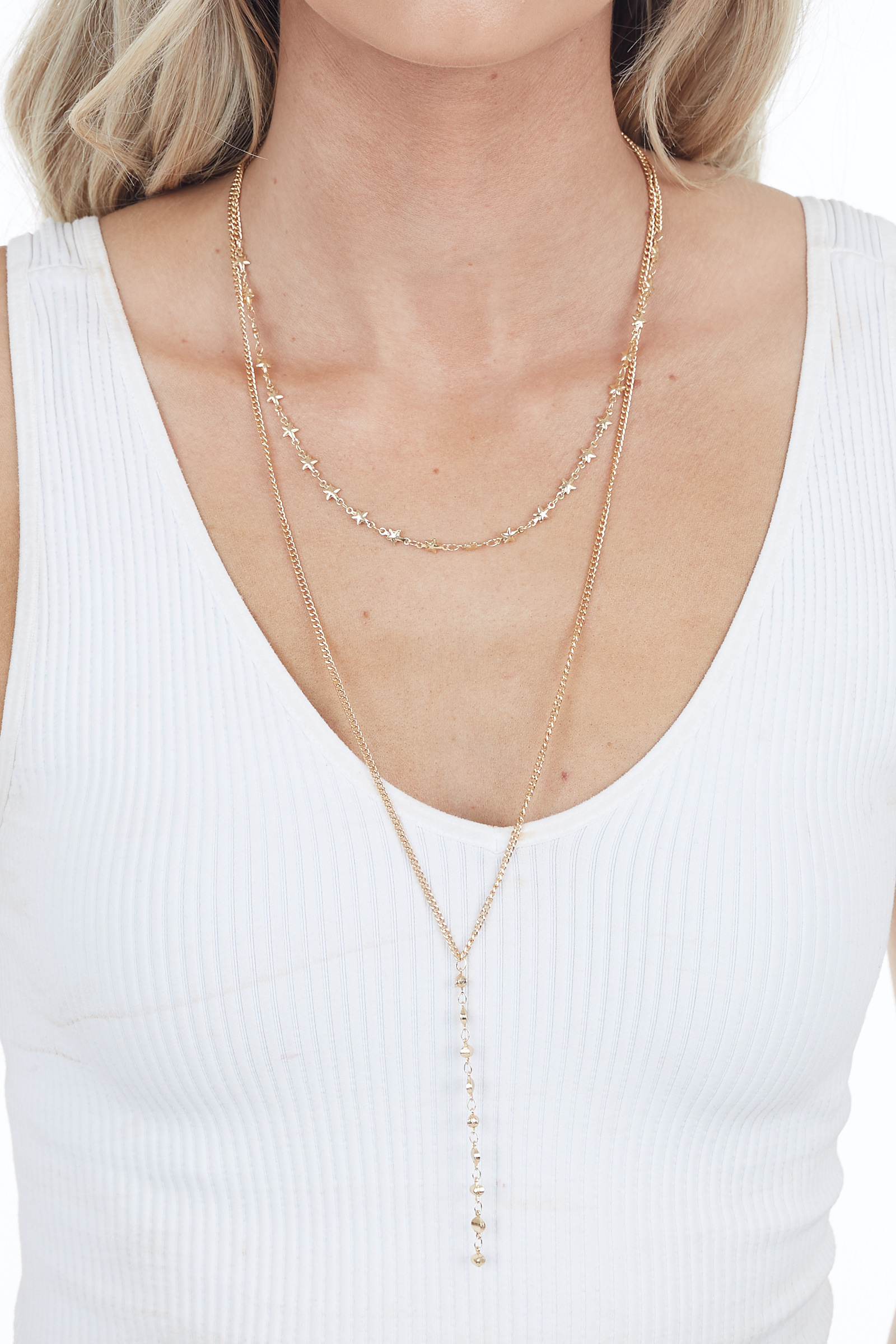 Gold Layered Necklace with Star Charm Details