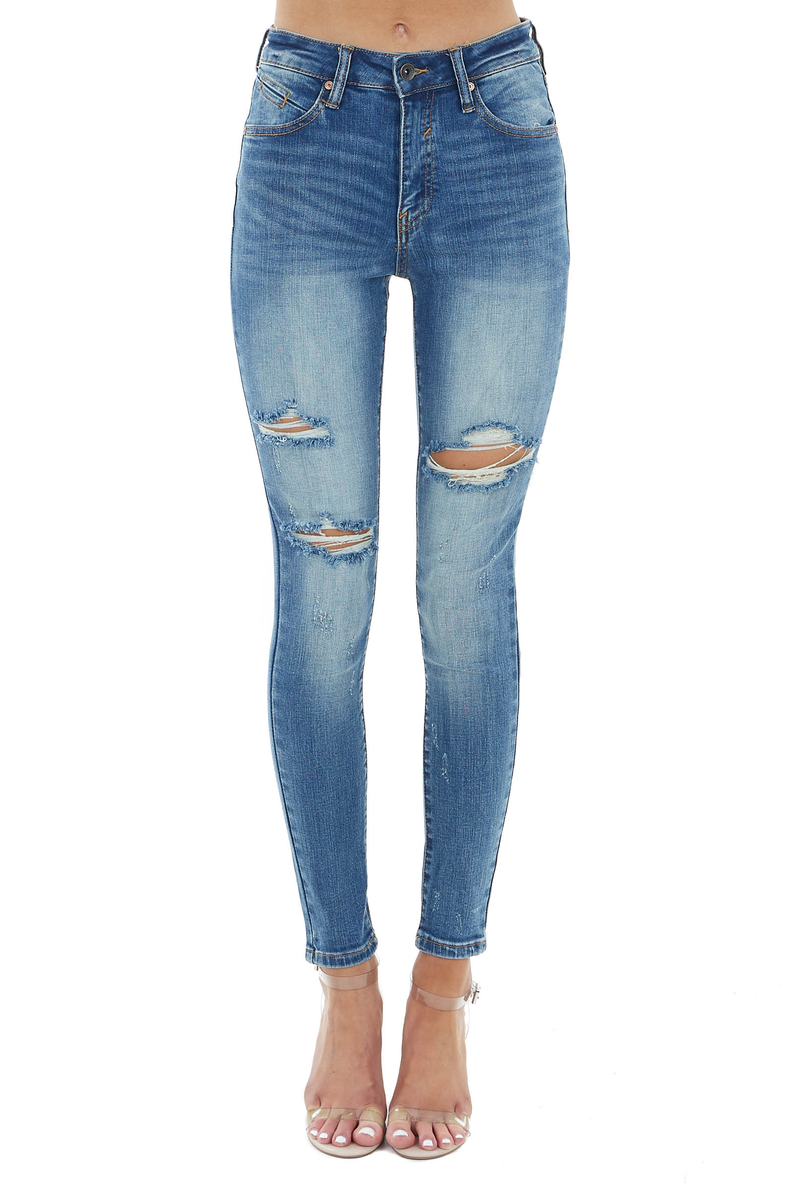 Medium Dark Wash High Rise Skinny Jeans with Ripped Knees