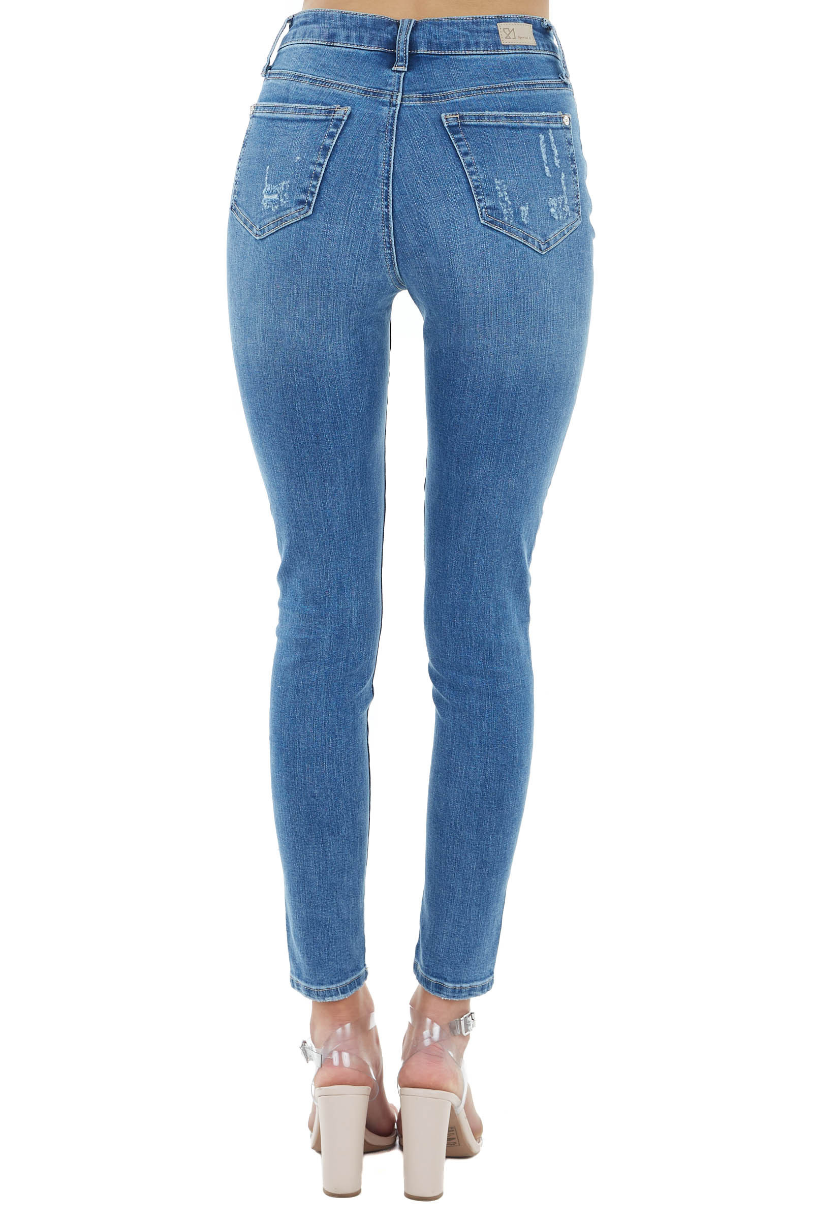 Medium Wash High Rise Skinny Jeans with Button Up Closure