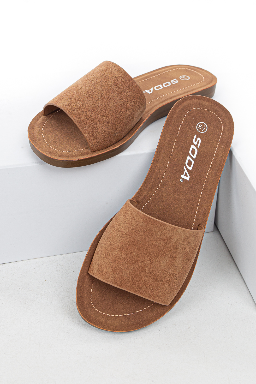 Cognac Faux Leather Slip On Style Sandal