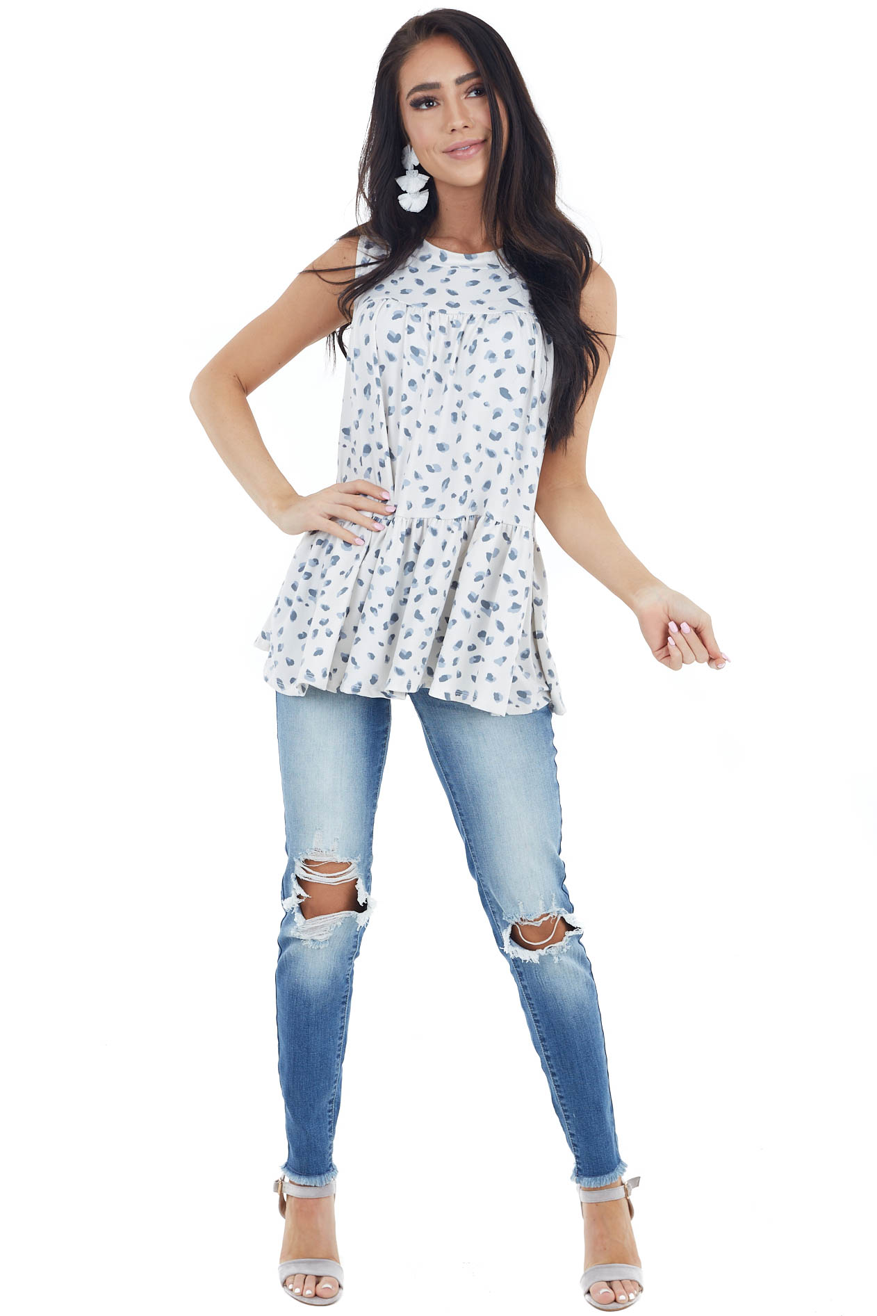 Ivory Leopard Print Babydoll Tiered Sleeveless Knit Top
